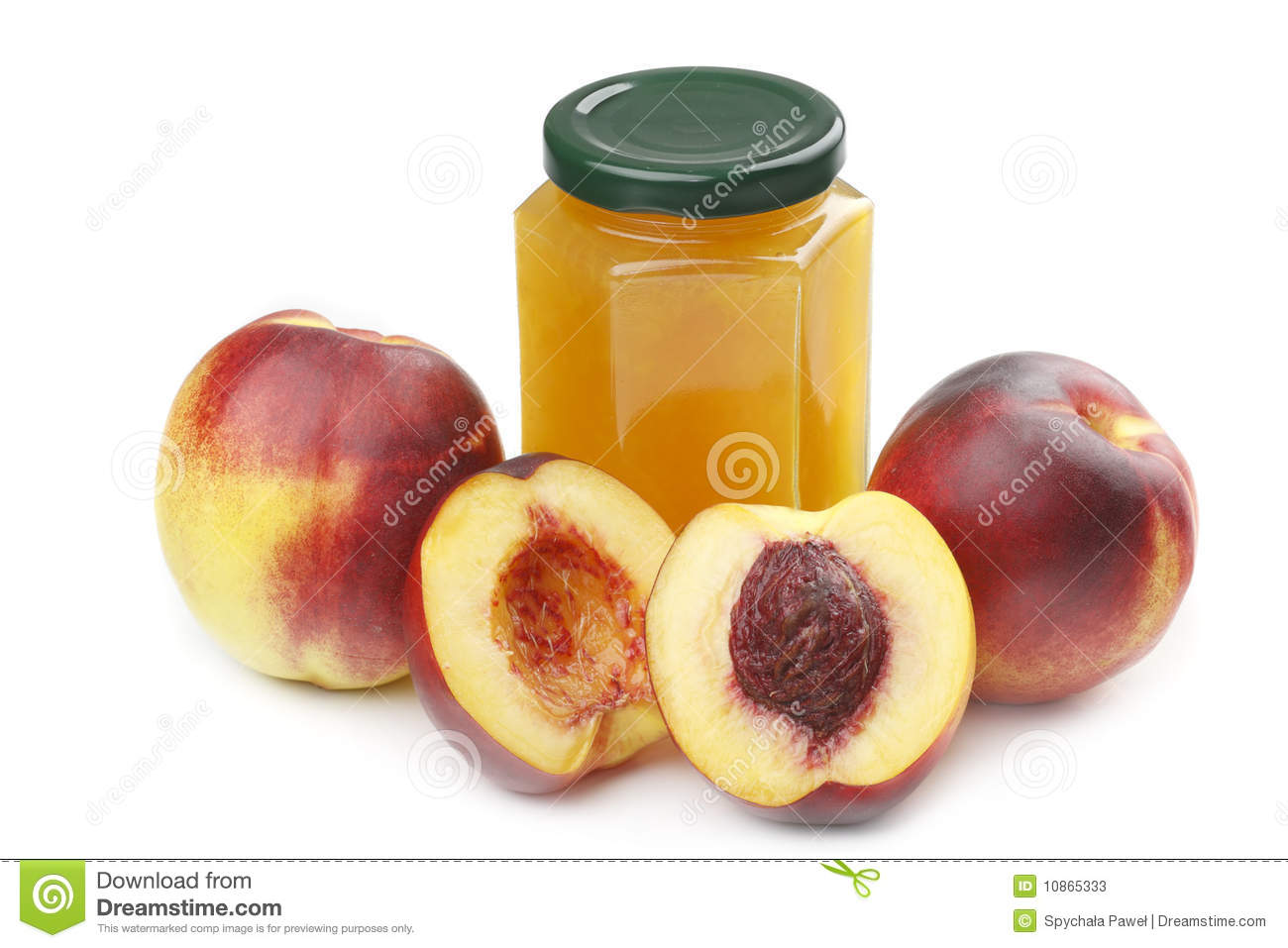 Nectarine and jam isolated on a white background.