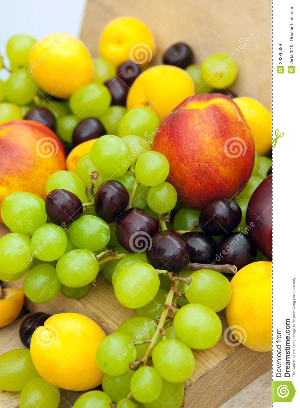 Nectarines grapes apricots and cherries