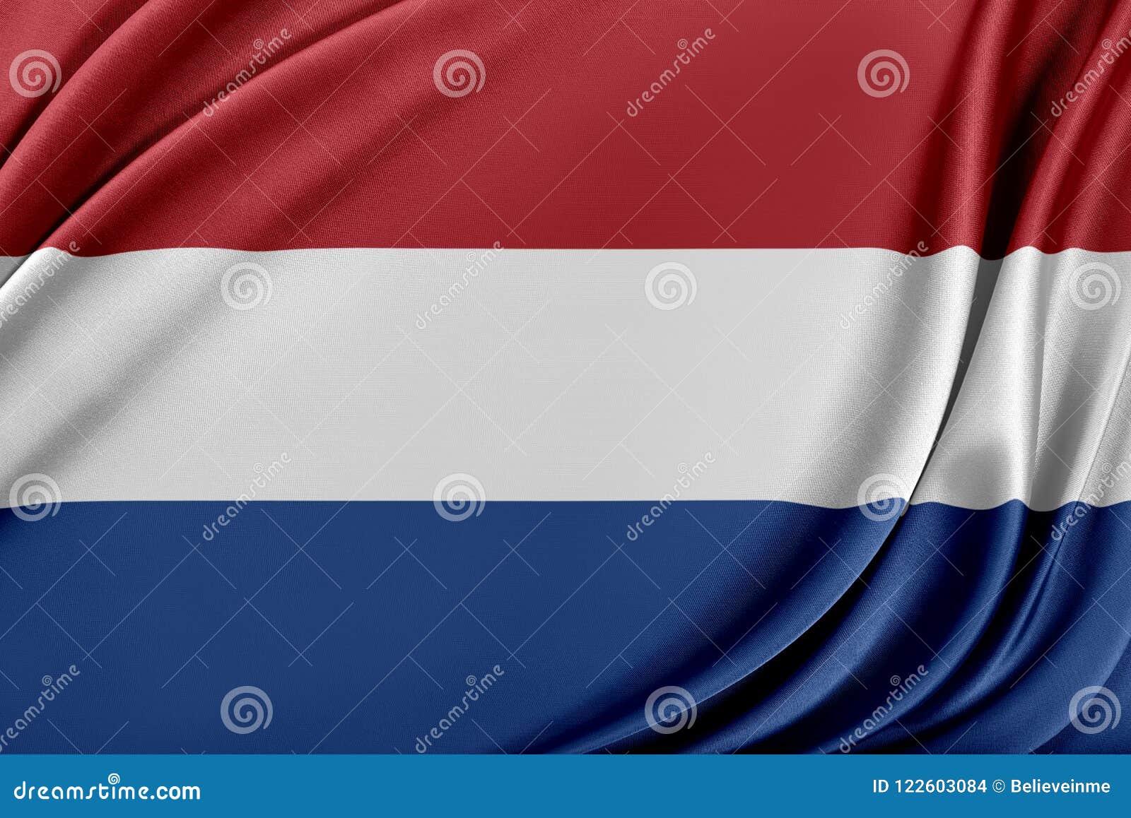 Nederländernaflagga med en glansig siden- textur