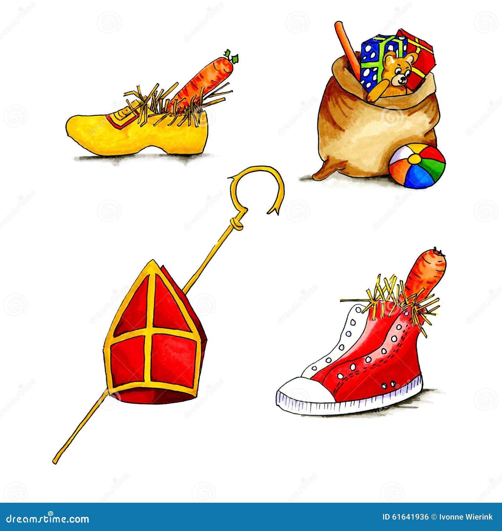 Nederlandse Sinterklaas Voorwerpen Stock Illustratie Illustratie Bestaande Uit Schoen Cultuur 61641936