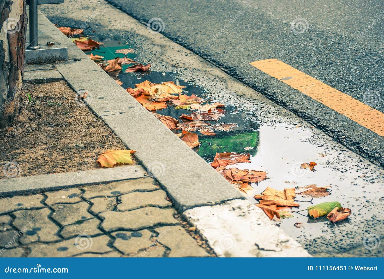 Nedgångsidor i vägen och trottoaren