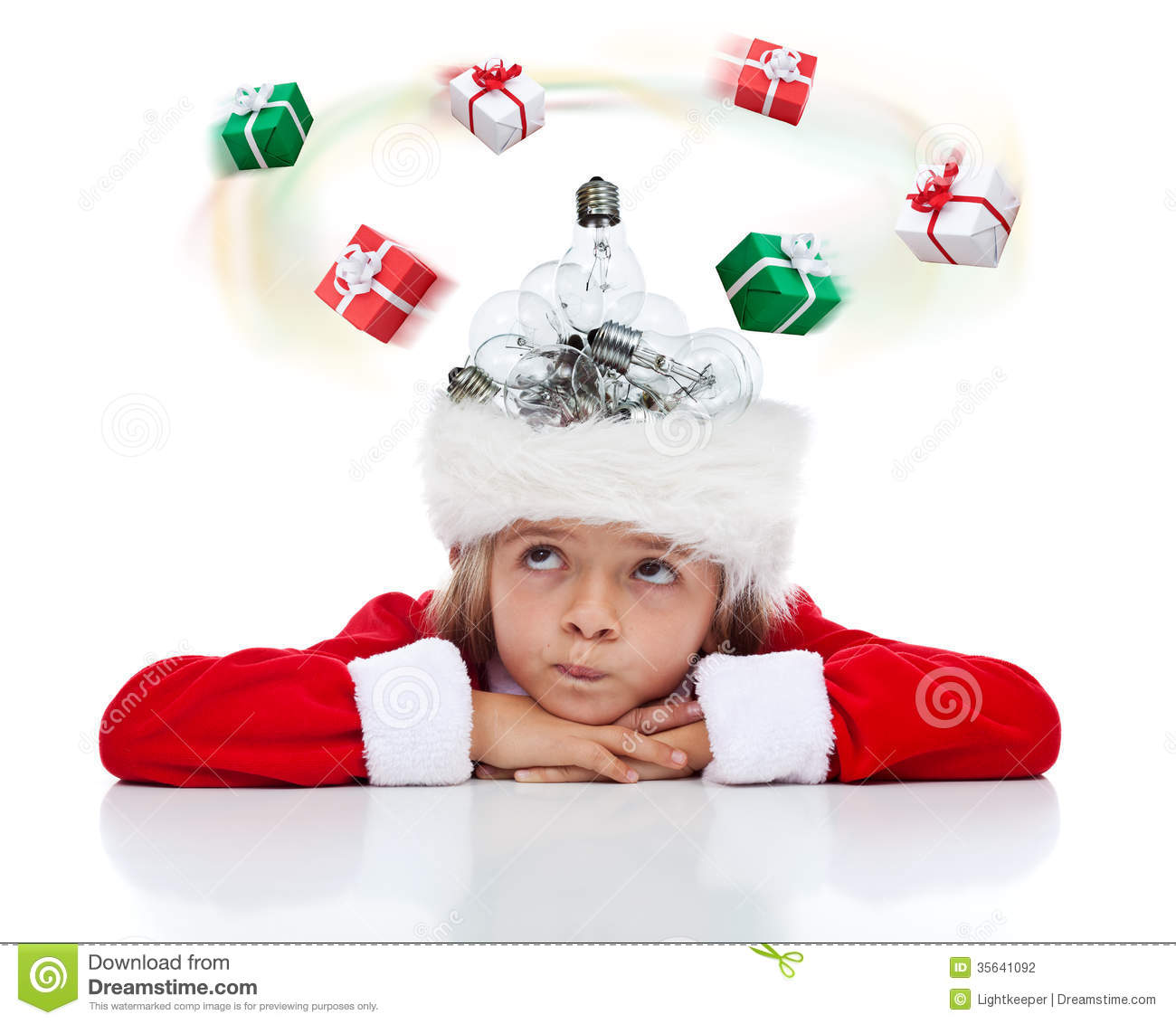 Need A Christmas Gift Idea ? Stock Photo - Image of concept, claus ...