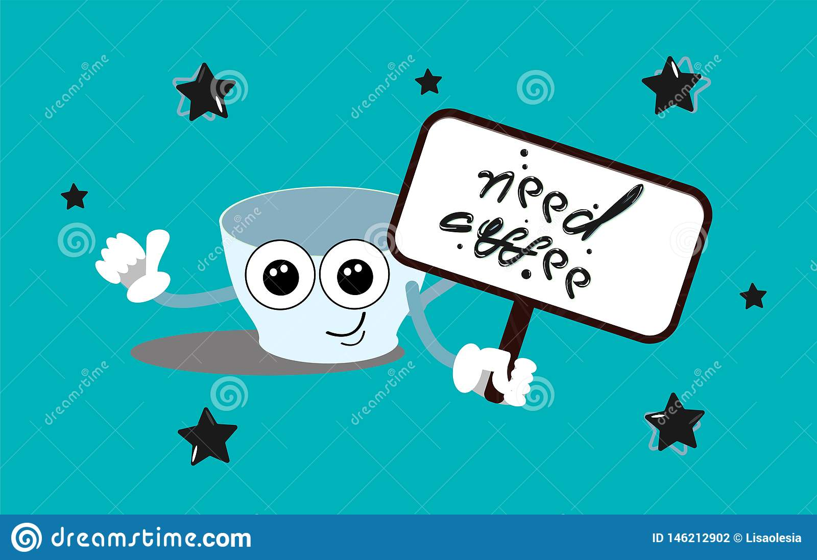 Need coffee. A sleepy cup with large eyes holds a sign with the inscription. Vector illustration in cartoon style