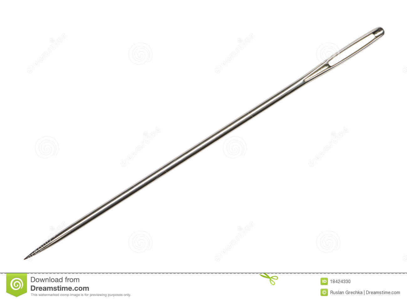 Needle (the tool for sewing) on an isolated white background.