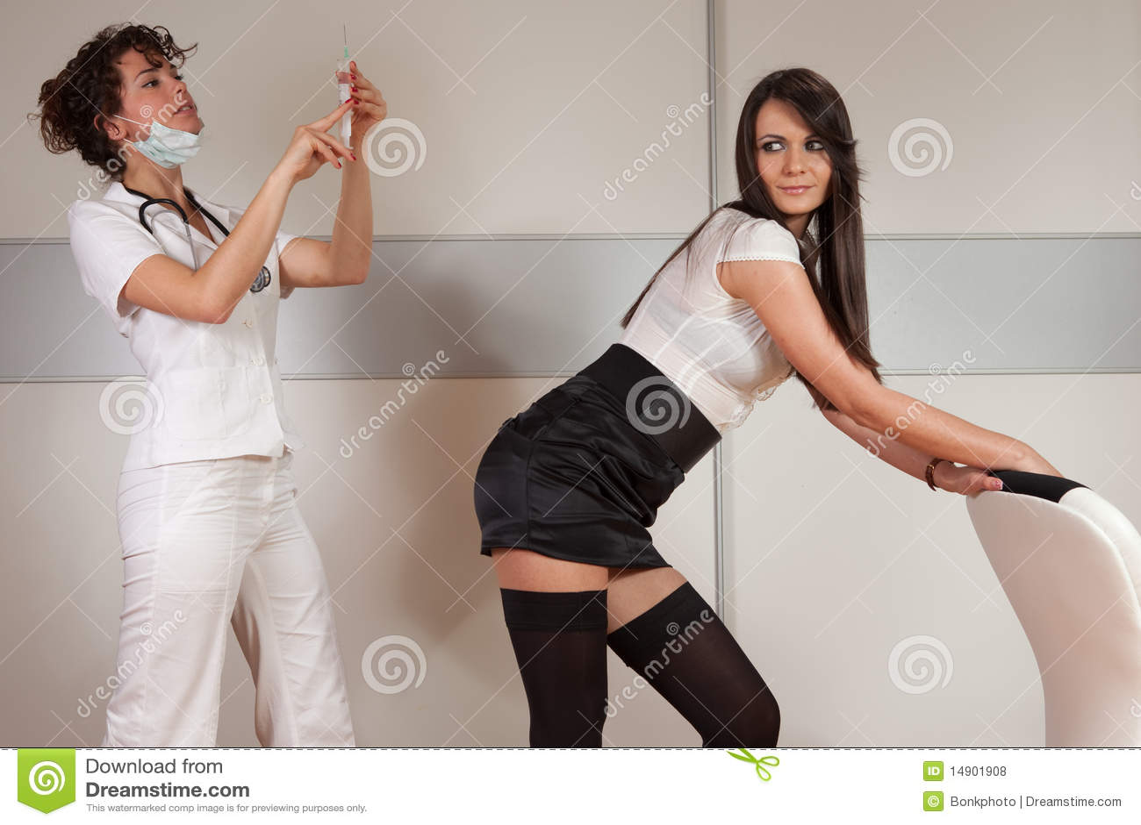 Sexy lesbian nurse upskirt examination