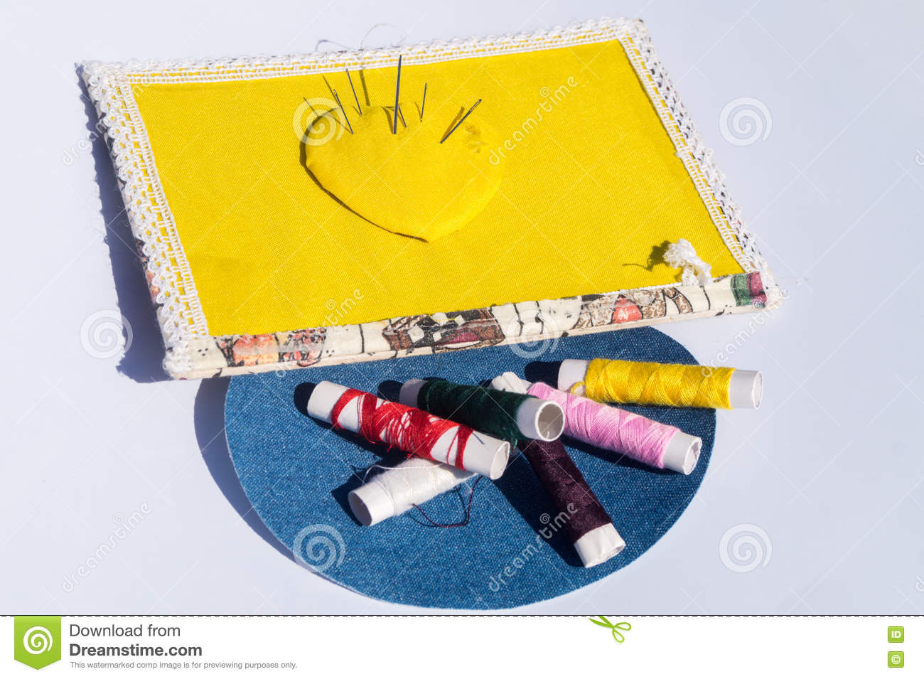Needle, thread and scissors, sewing items