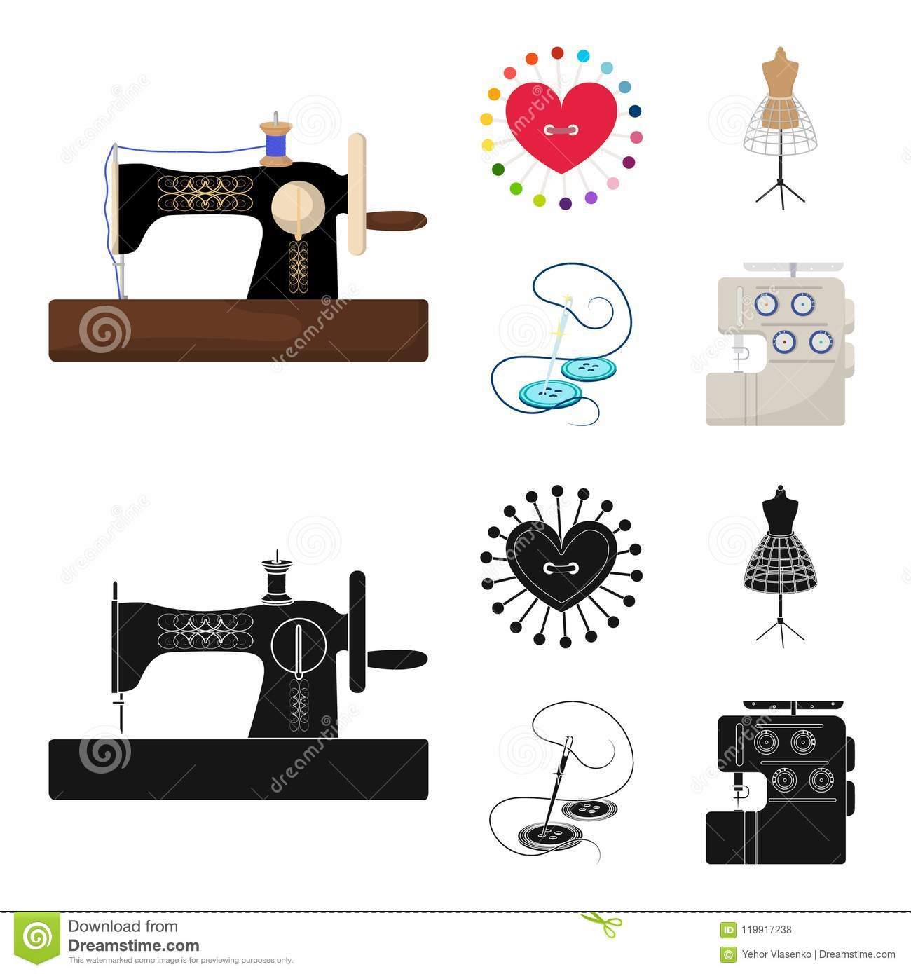 Needle And Thread, Sewing Machine, Pincushion, Dummy For Clothing ...