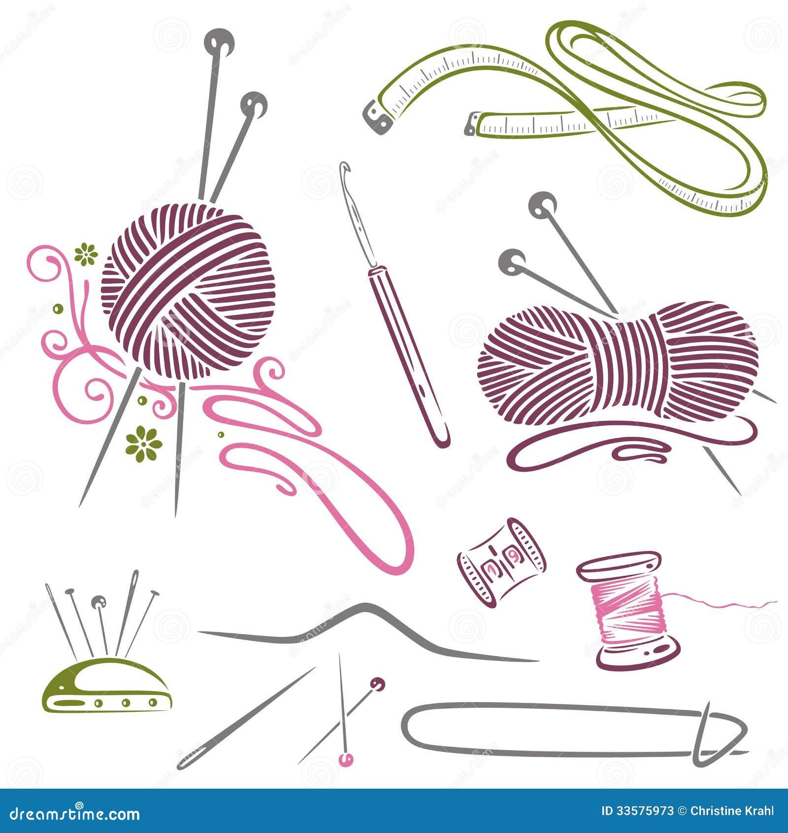 Vintage Knitting Clipart : Needlework knitting wool crochet stock vector image