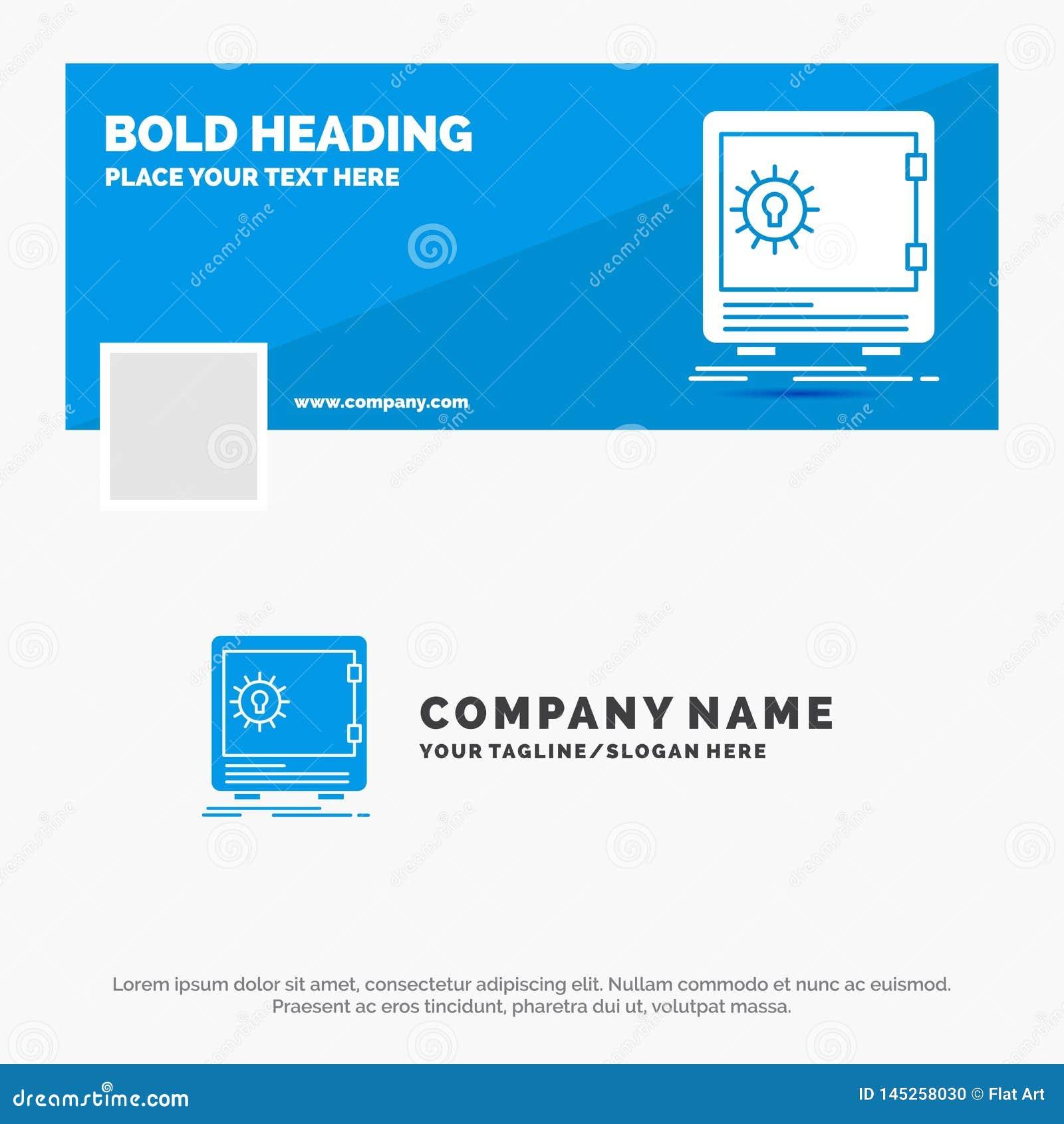 Negócio azul Logo Template para o banco, depósito, cofre forte, segurança, strongbox Projeto da bandeira do espa?o temporal de Fa