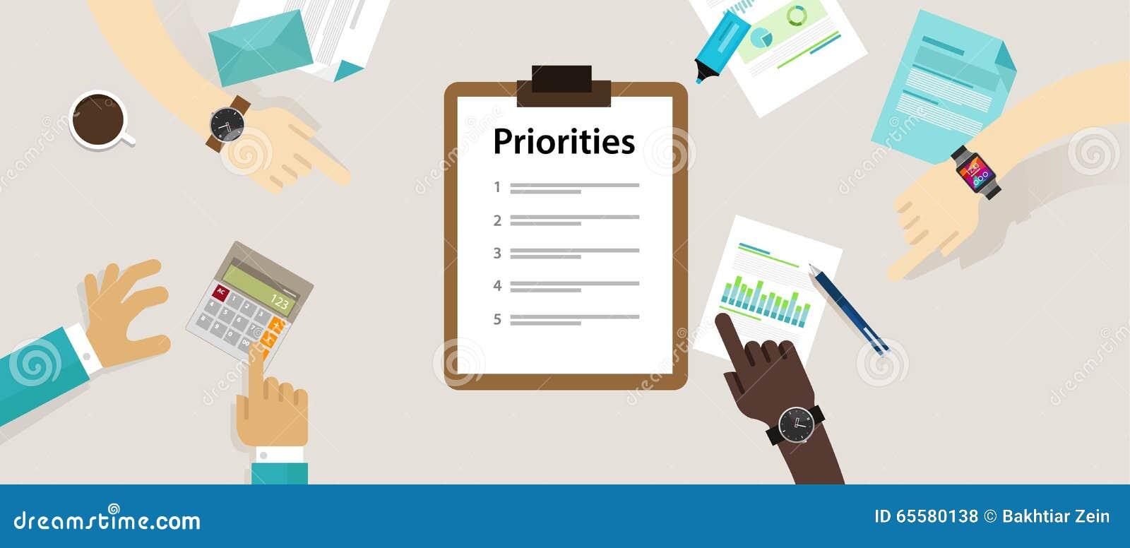 Negócio da mesa da lista de prioridades das prioridades pessoal
