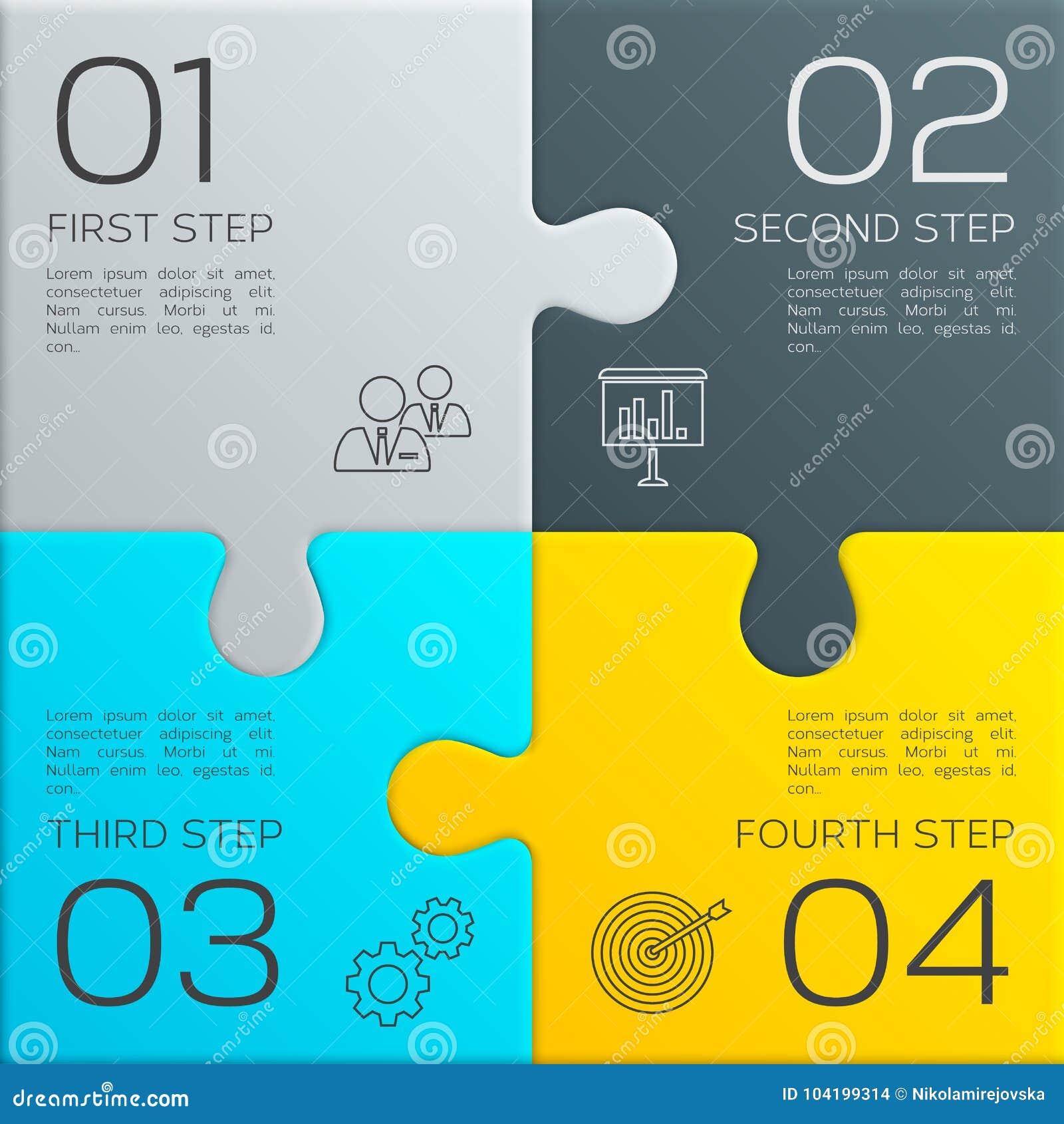 Negócio moderno infographic para sua apresentação Quatro etapas ao sucesso Partes do enigma Vetor