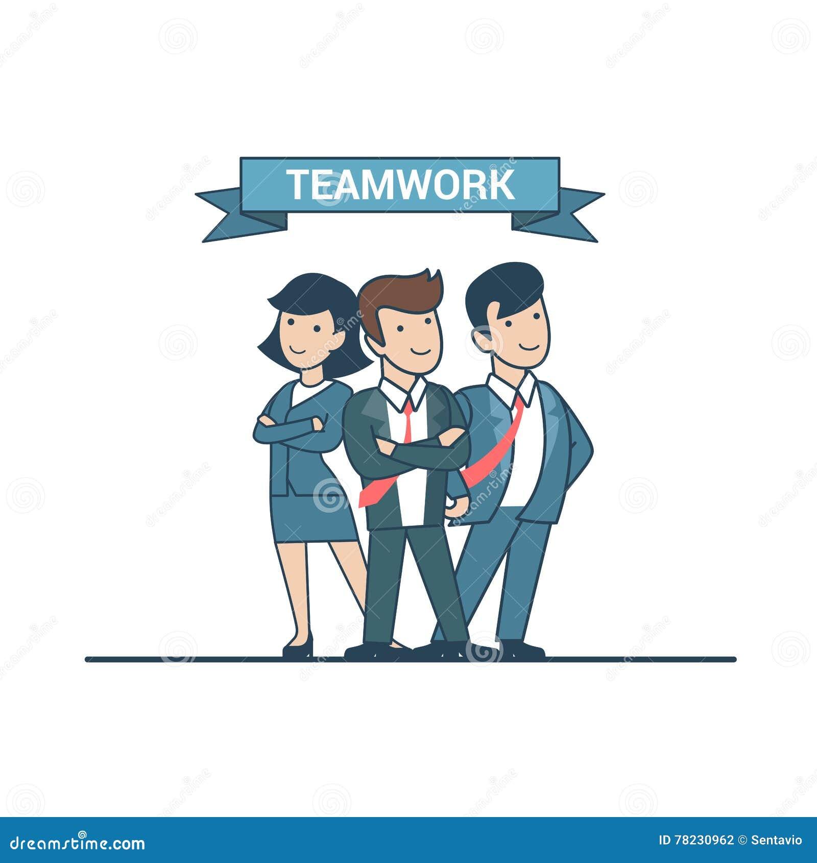 Negócio seguro do vetor dos líderes da equipa lisos lineares