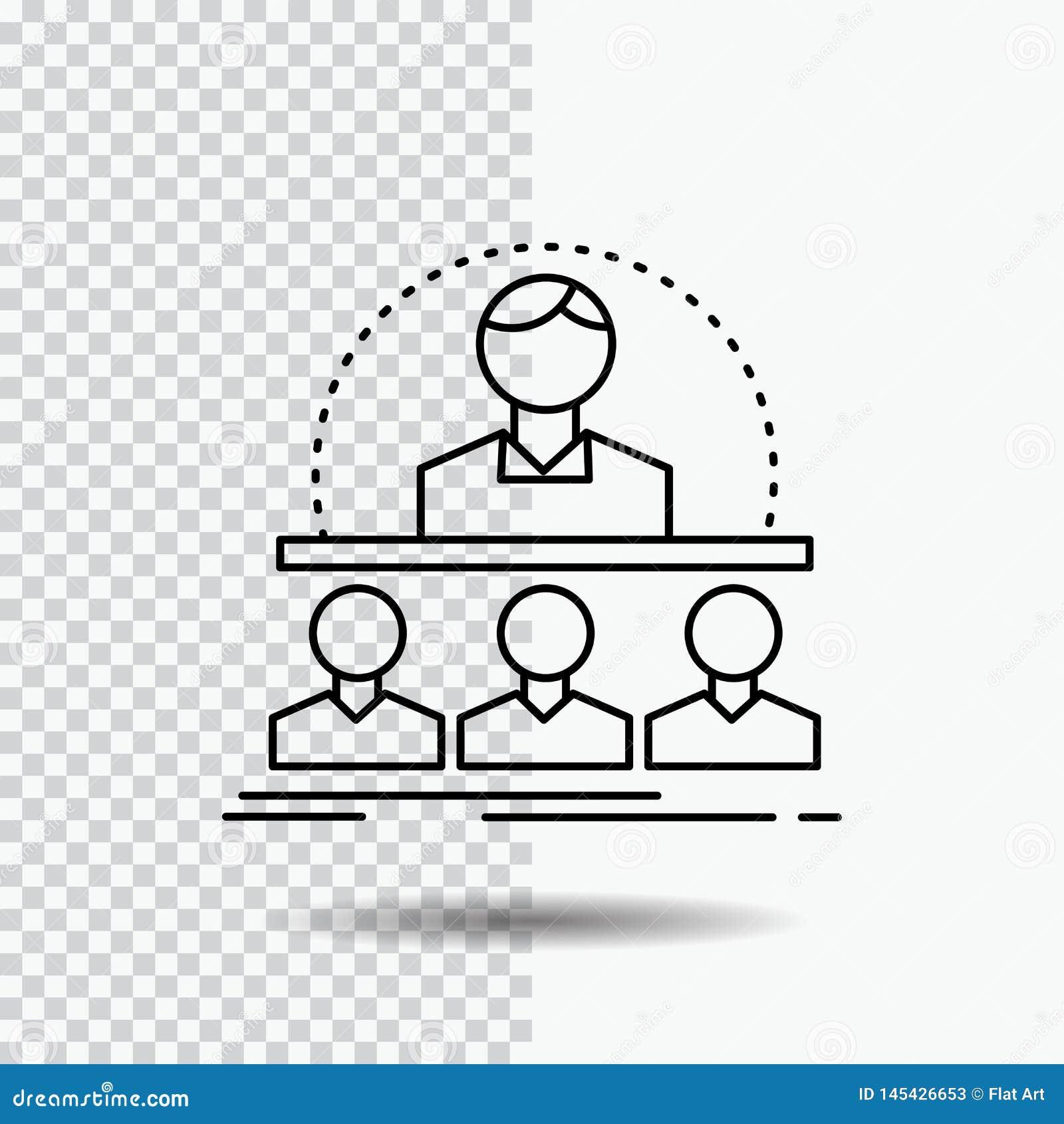 Negócio, treinador, curso, instrutor, linha ícone do mentor no fundo transparente Ilustra??o preta do vetor do ?cone