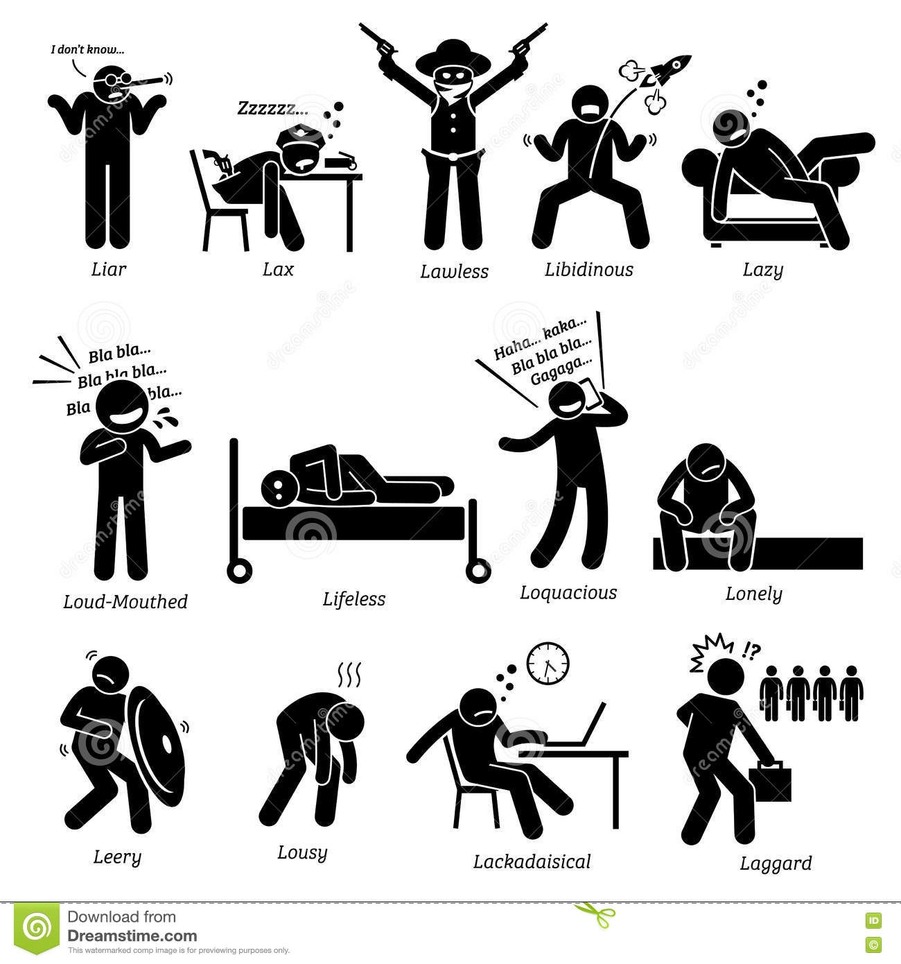 negative personalities character traits clipart stock vector