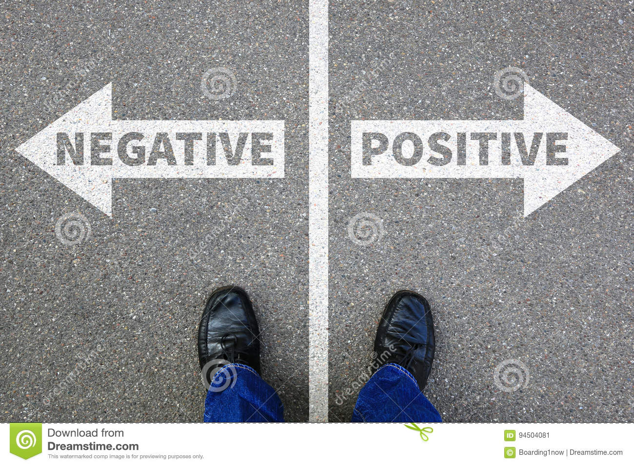 Negative positive thinking good bad thoughts attitude business c