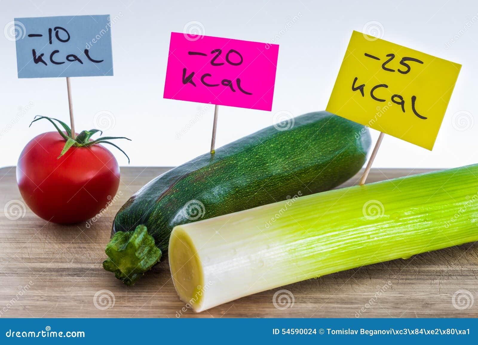 Negativo-calorías De Comida; Puerros, Calabacín Y Tomate Foto de ...