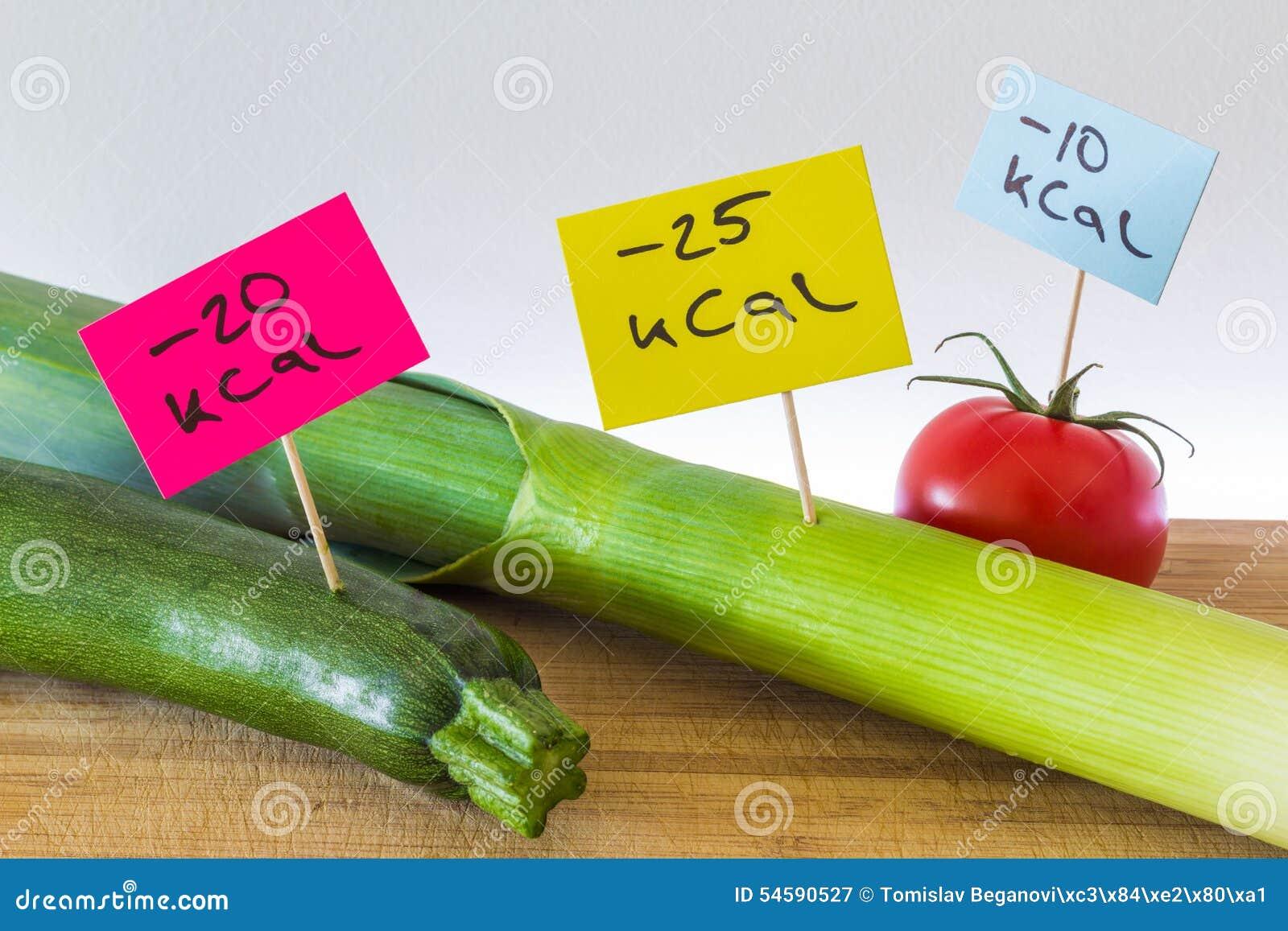 Negativo-calorías De Comida; Puerros, Calabacín Y Tomate Imagen de ...
