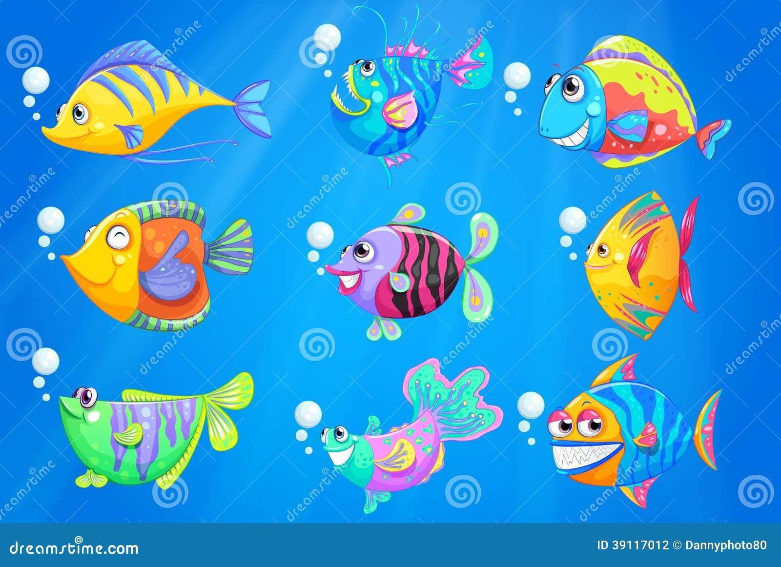 Negen kleurrijke vissen onder de diepe oceaan