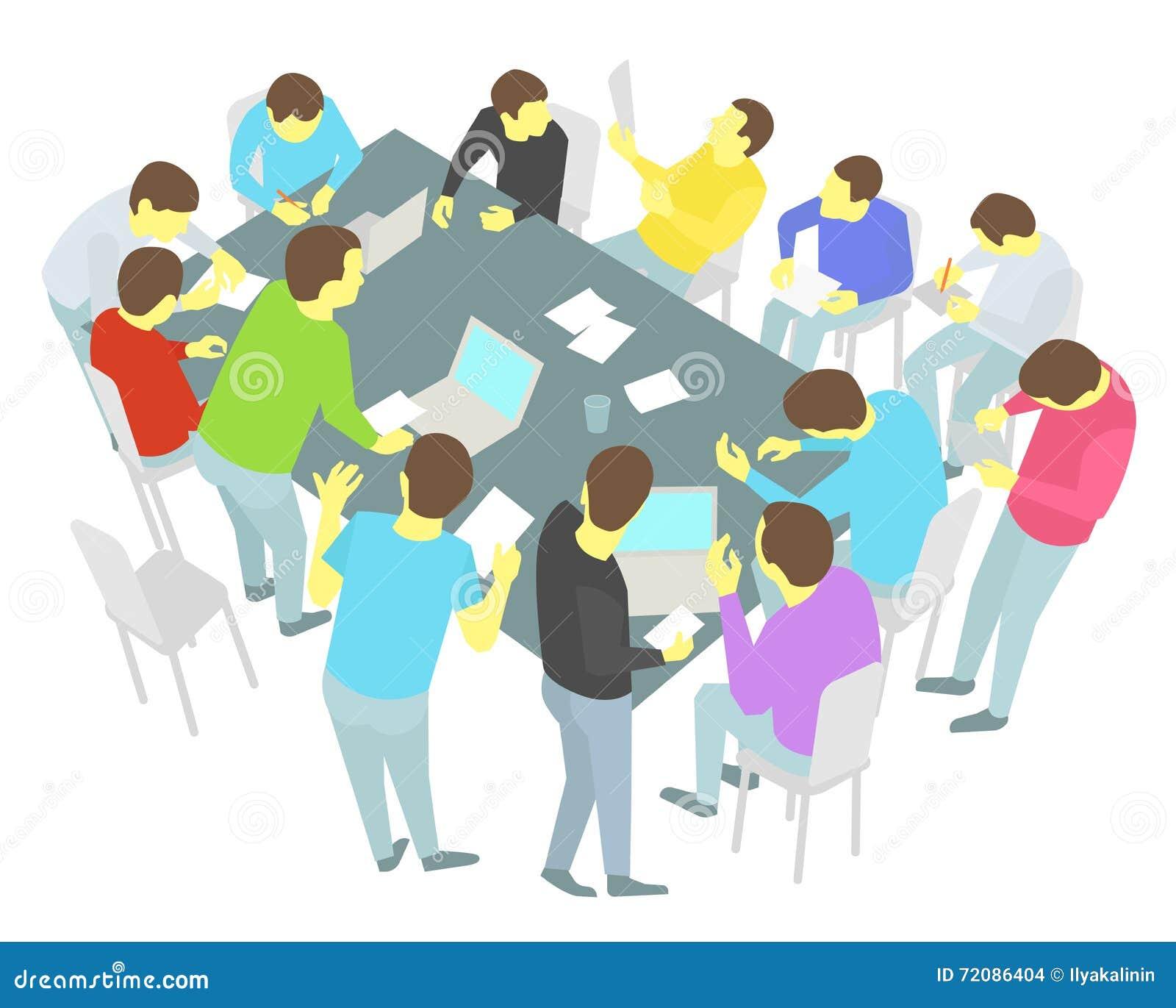 Negociações da mesa redonda Treze pessoas ajustadas Grupo da equipe de executivos da conferência da reunião