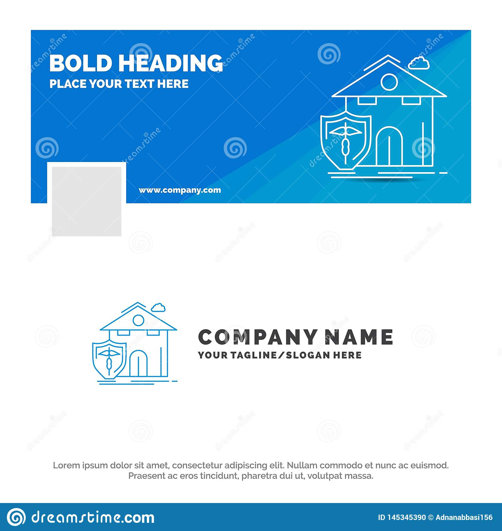 Negocio azul Logo Template para el seguro, hogar, casa, muerte, protección r Bandera del Web del vector