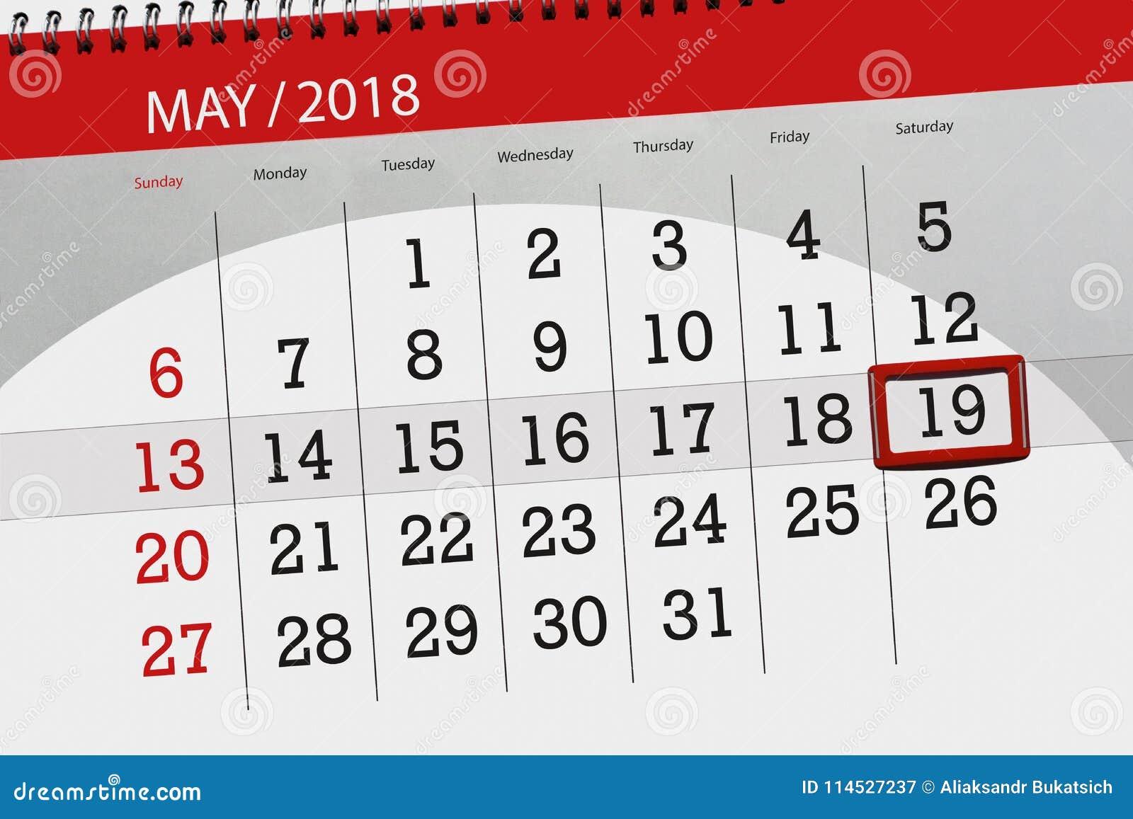 Negocio Calendario Página 2018 El 19 De Mayo Diario Imagen de ... 7eb06f397ac42