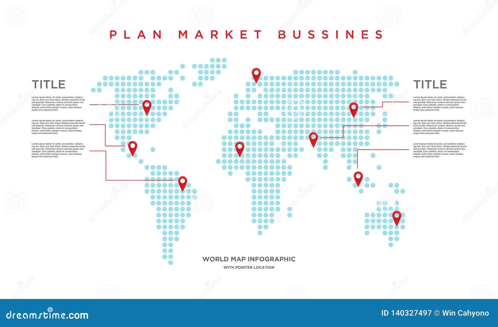 Negocio del mercado del mapa del mundo infographic