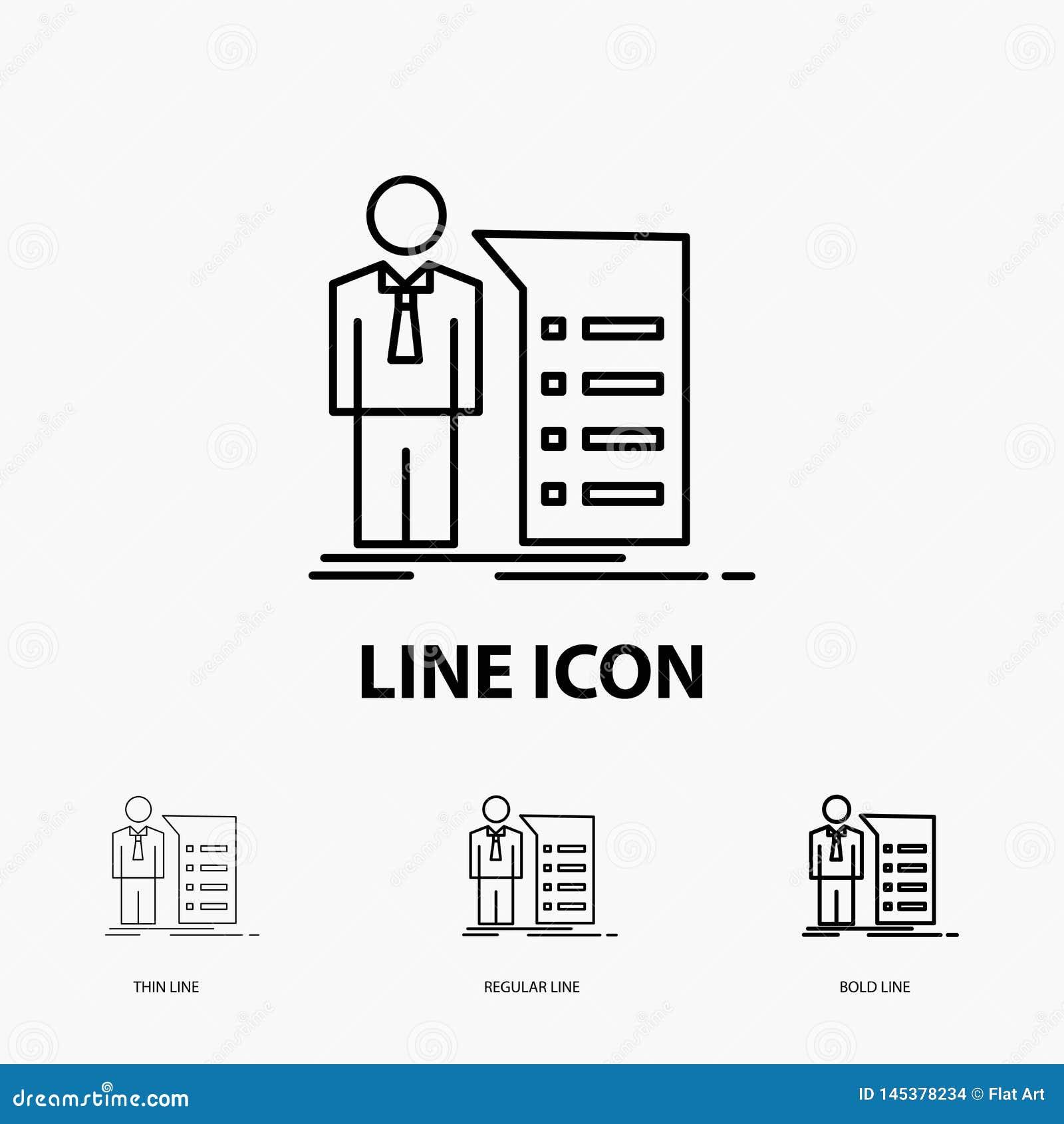 Negocio, explicación, gráfico, reunión, icono de la presentación en la línea estilo fina, regular e intrépida Ilustraci?n del vec