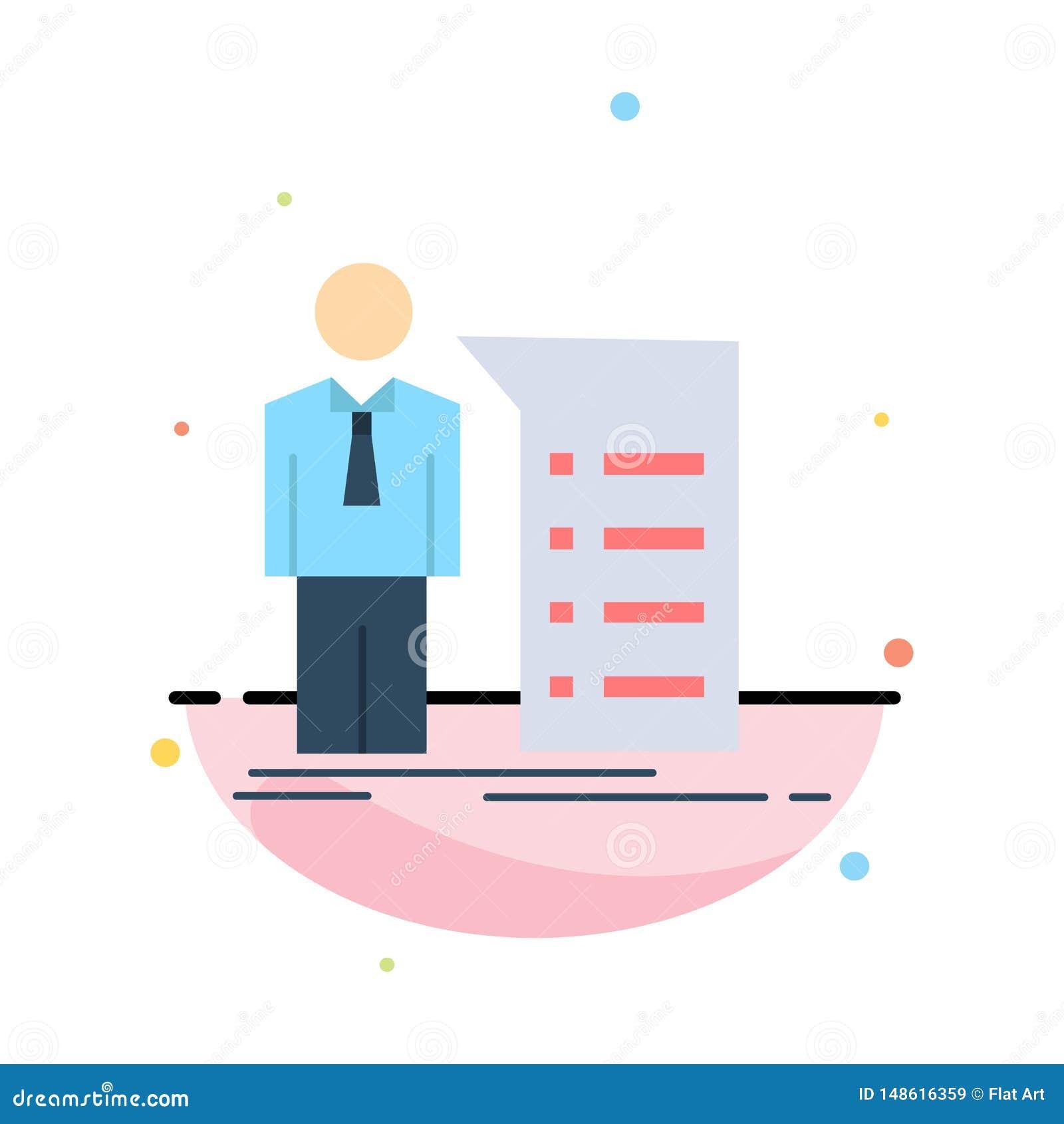 Negocio, explicación, gráfico, reunión, vector plano del icono del color de la presentación