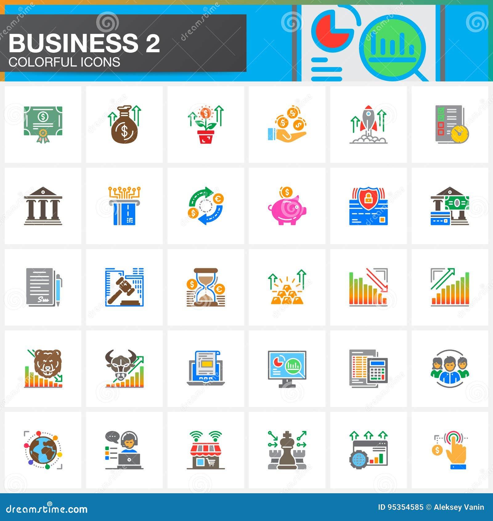 Negocio, finanzas, iconos fijados, colección sólida moderna del símbolo, paquete colorido llenado del vector del dinero del picto
