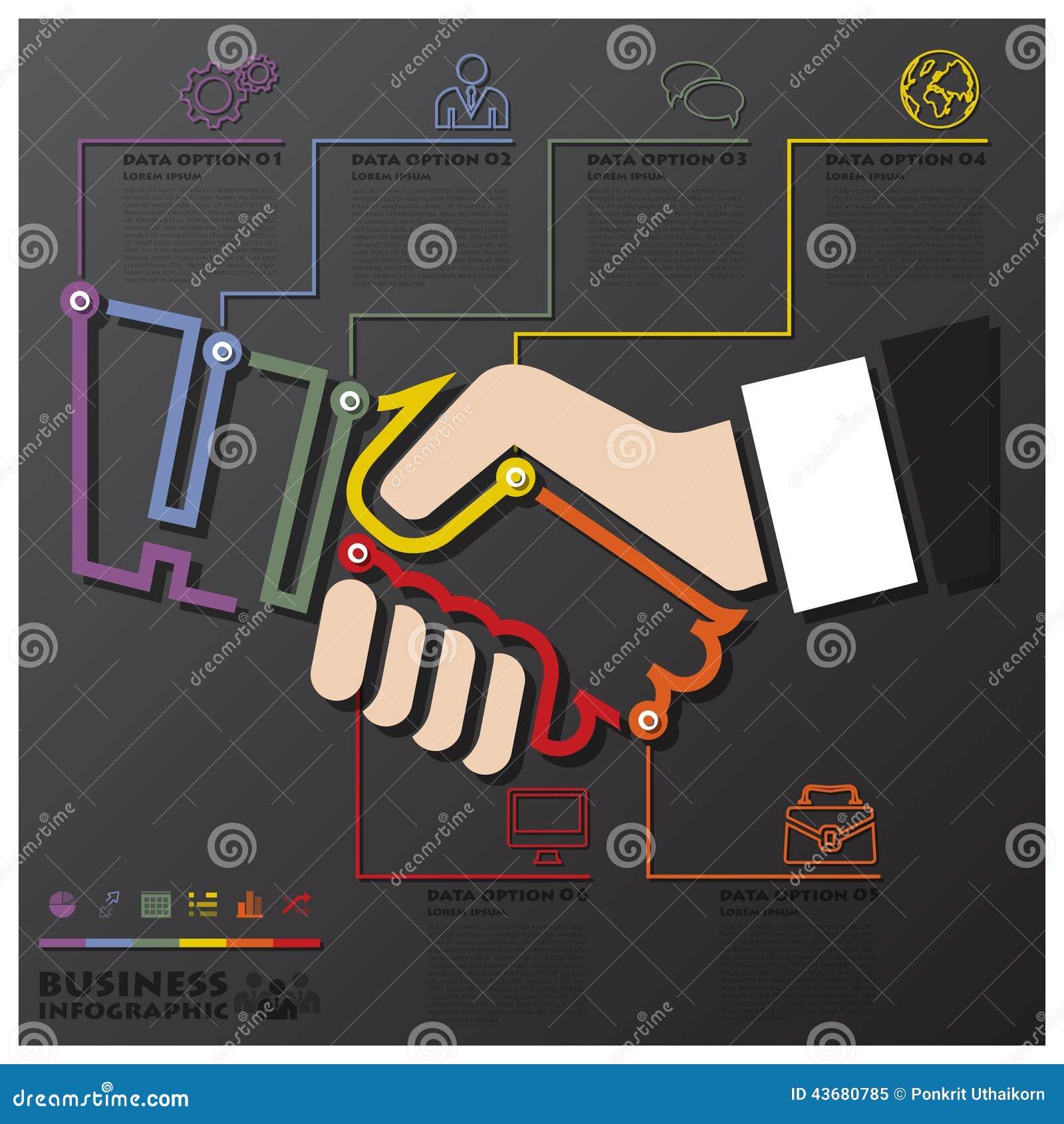 Negocio Infographic de la cronología de la conexión de la sacudida de la mano