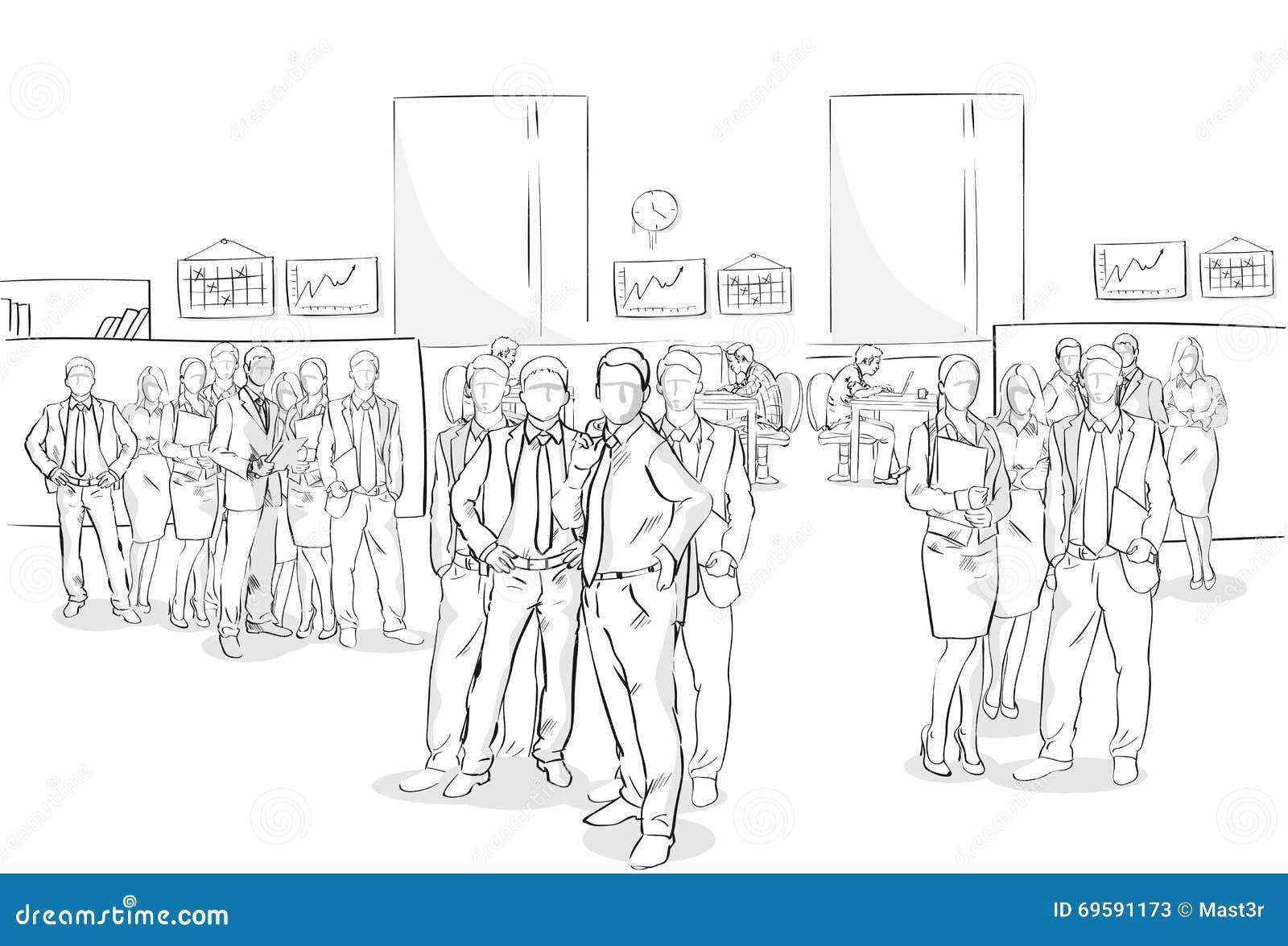 Negocio interior Team Hand Drawn People de la oficina de la muchedumbre de los empresarios del bosquejo