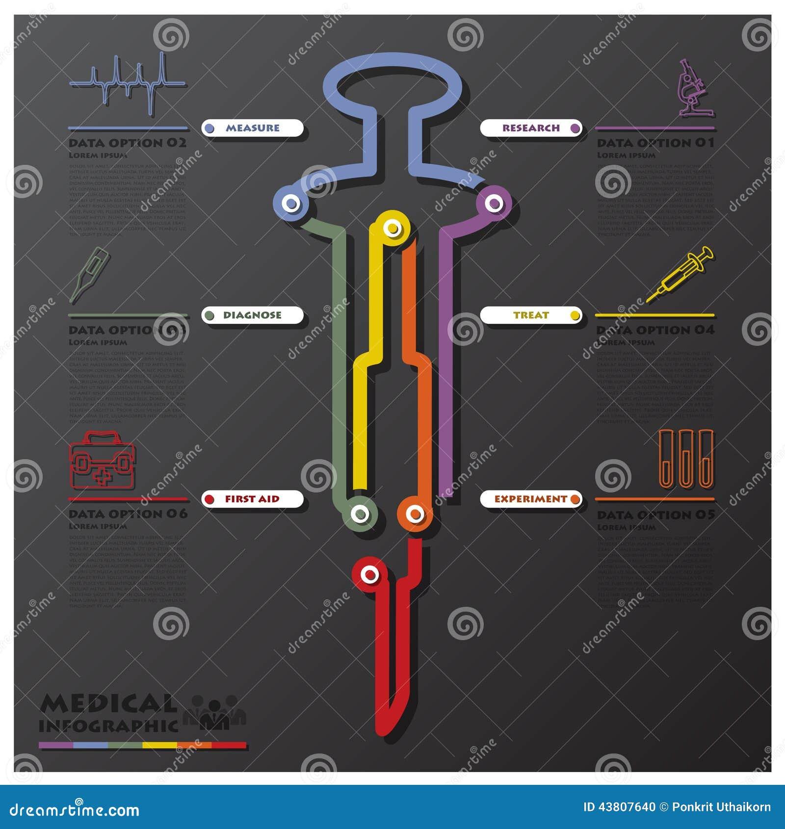 Negocio médico y de la salud Infographic de la conexión de la cronología