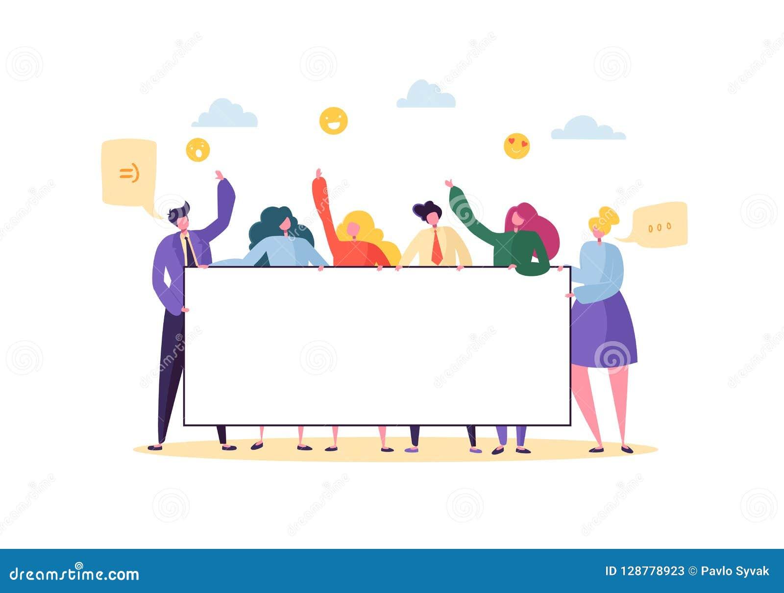 Negocio Team Holding Horizontal Empty Banner Gente feliz con la cartelera en blanco Concepto de la publicidad del trabajo en equi
