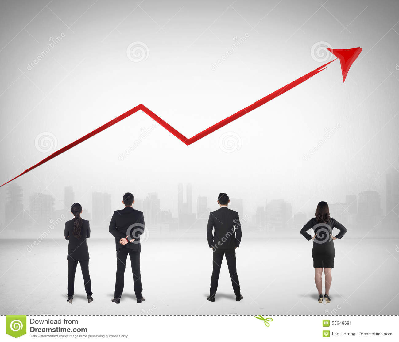 Negocio Team Watching Sales Grow Up