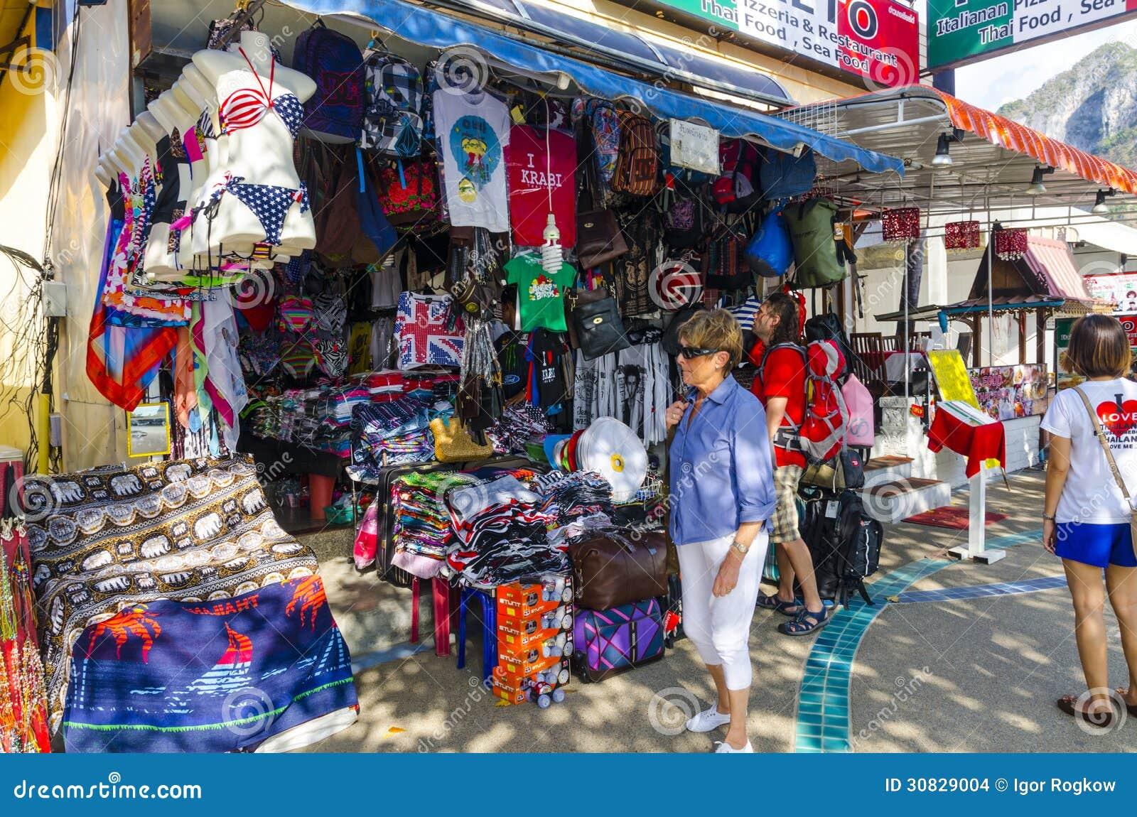 Negozio della viuzza nello stile tailandese.