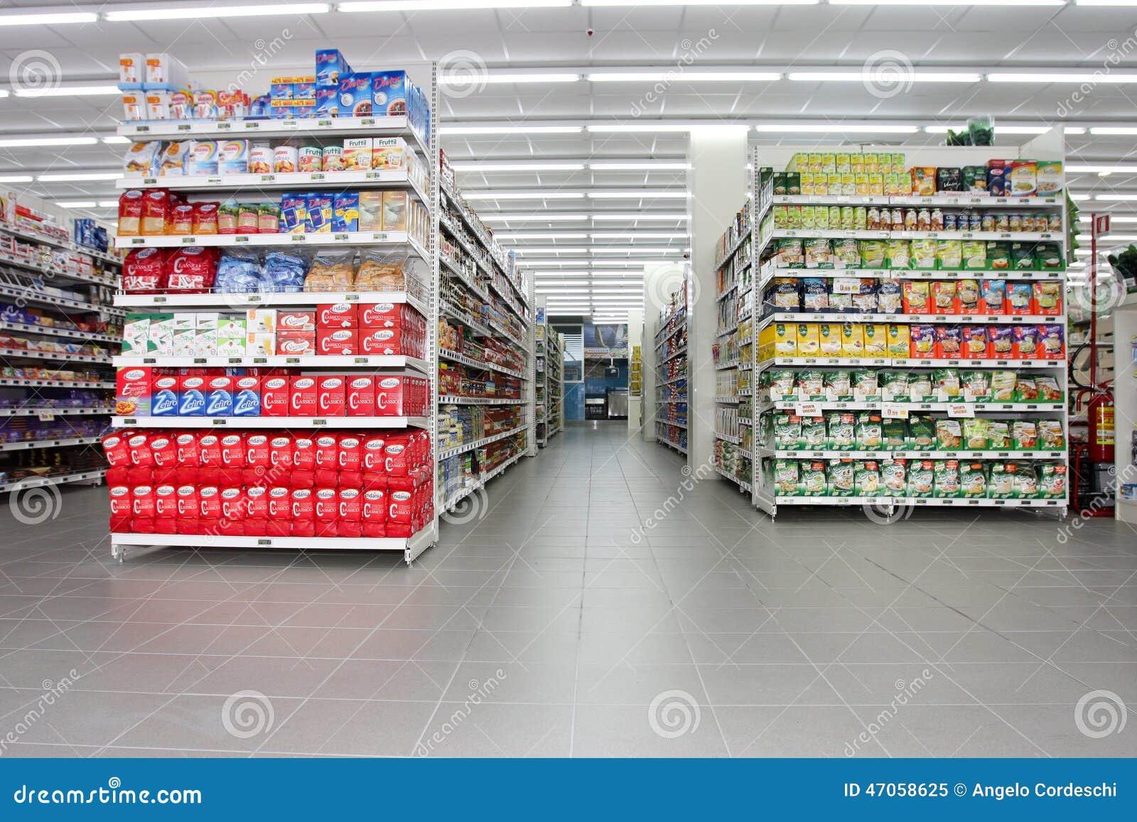 Negozio di alimentari scaffali ed elemento dei prodotti immagine