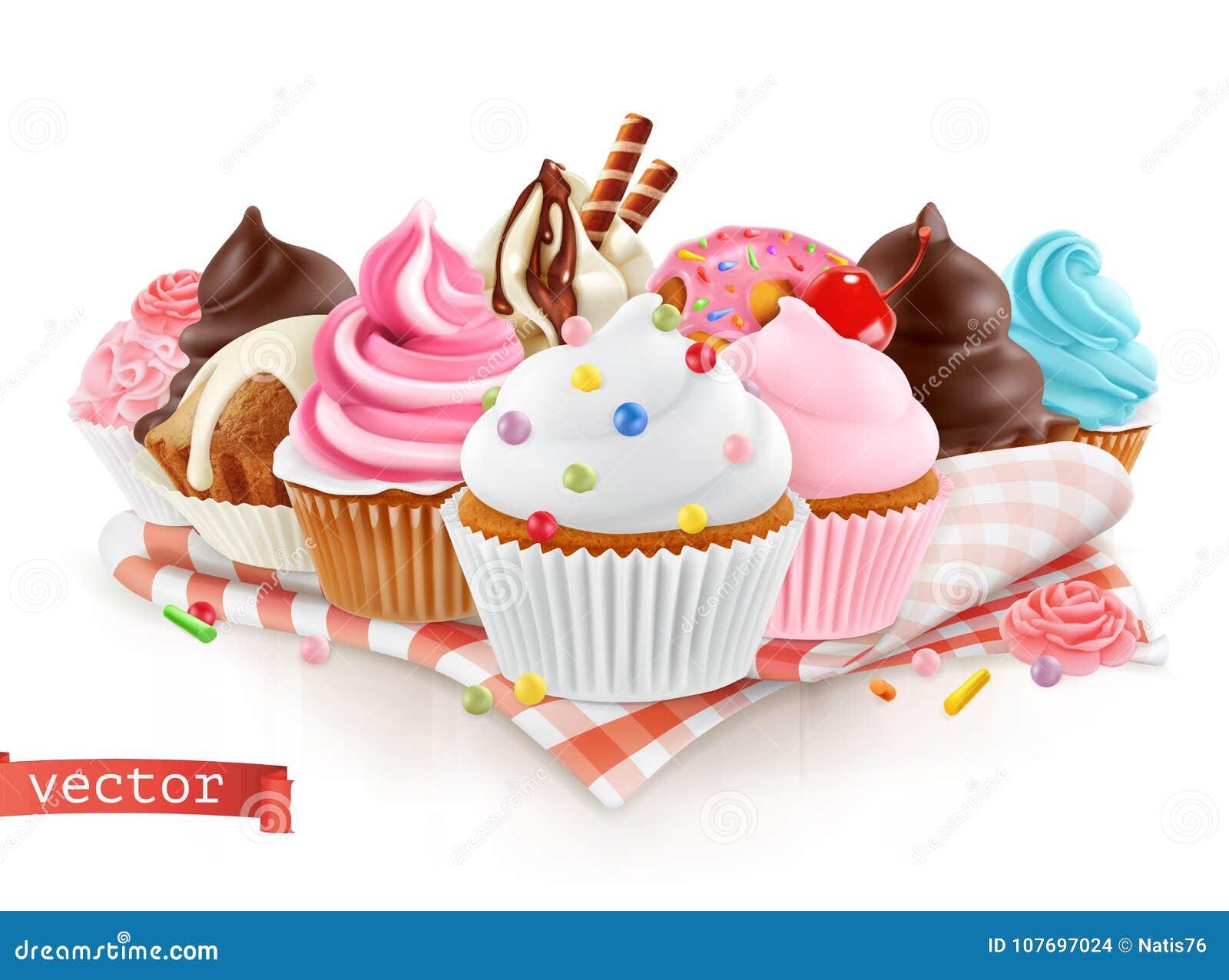 Negozio di pasticceria, confetteria Dessert dolce Dolce, bigné vettore 3d