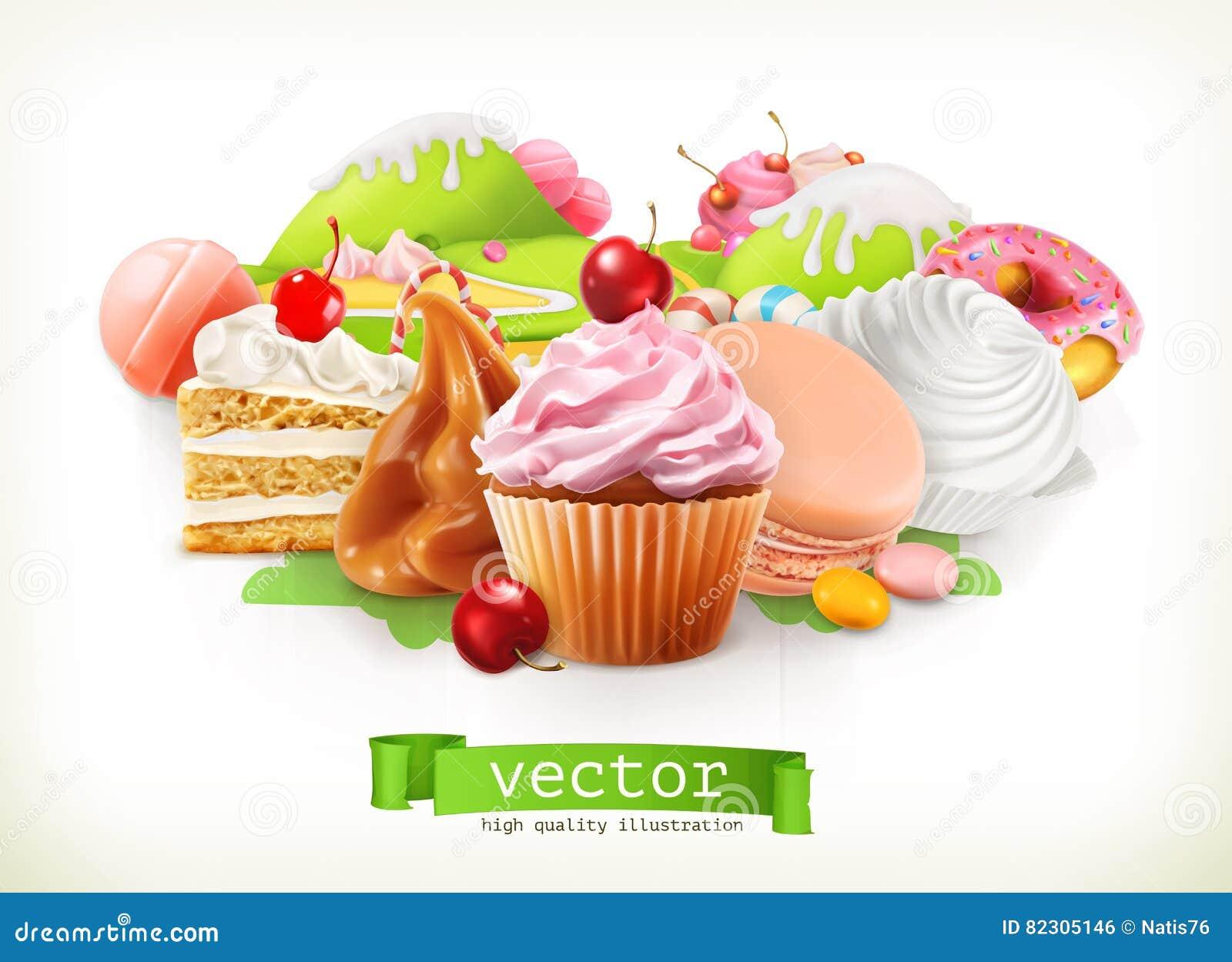 Negozio dolce Confetteria e dessert, dolce, bigné, caramella, caramello Illustrazione di vettore