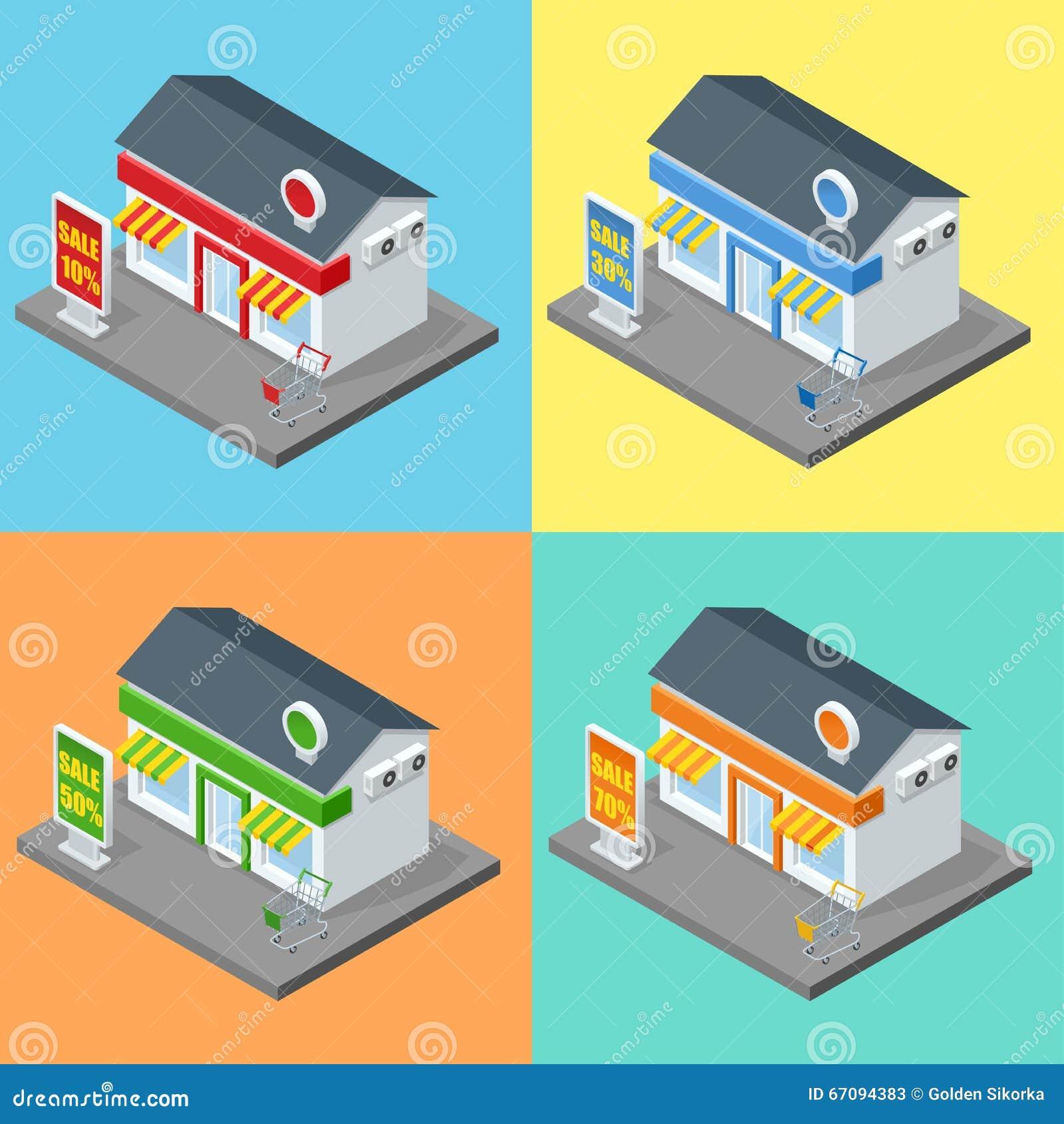 Negozio, esterno del supermercato I depositi dei negozi e le icone decorative piane delle costruzioni del supermercato messe hann