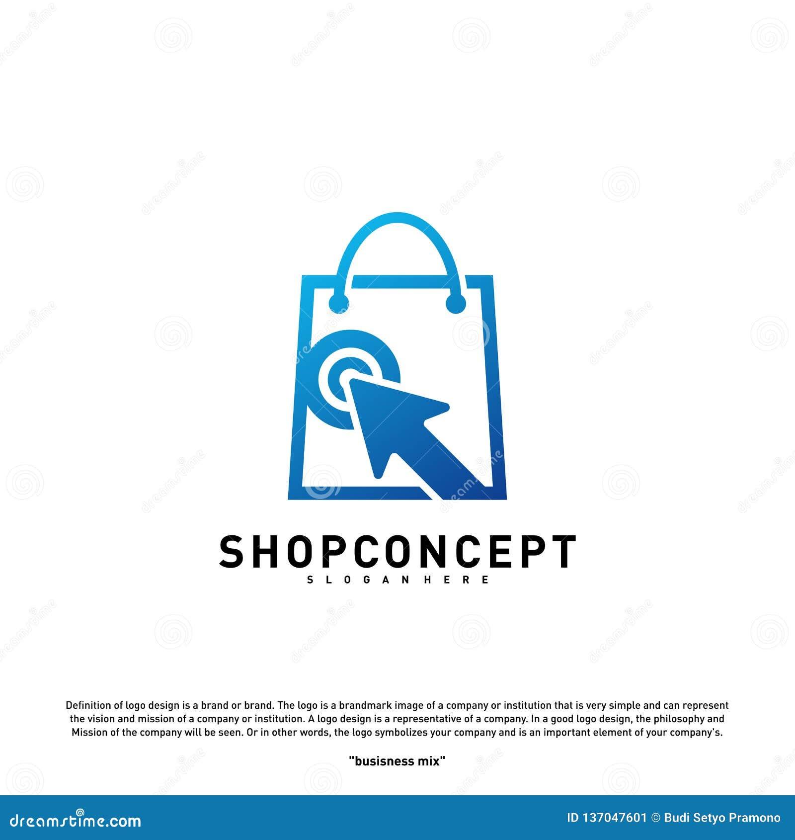 Negozio online Logo Design Concept Centro commerciale online Logo Vector Simbolo online dei regali e del deposito