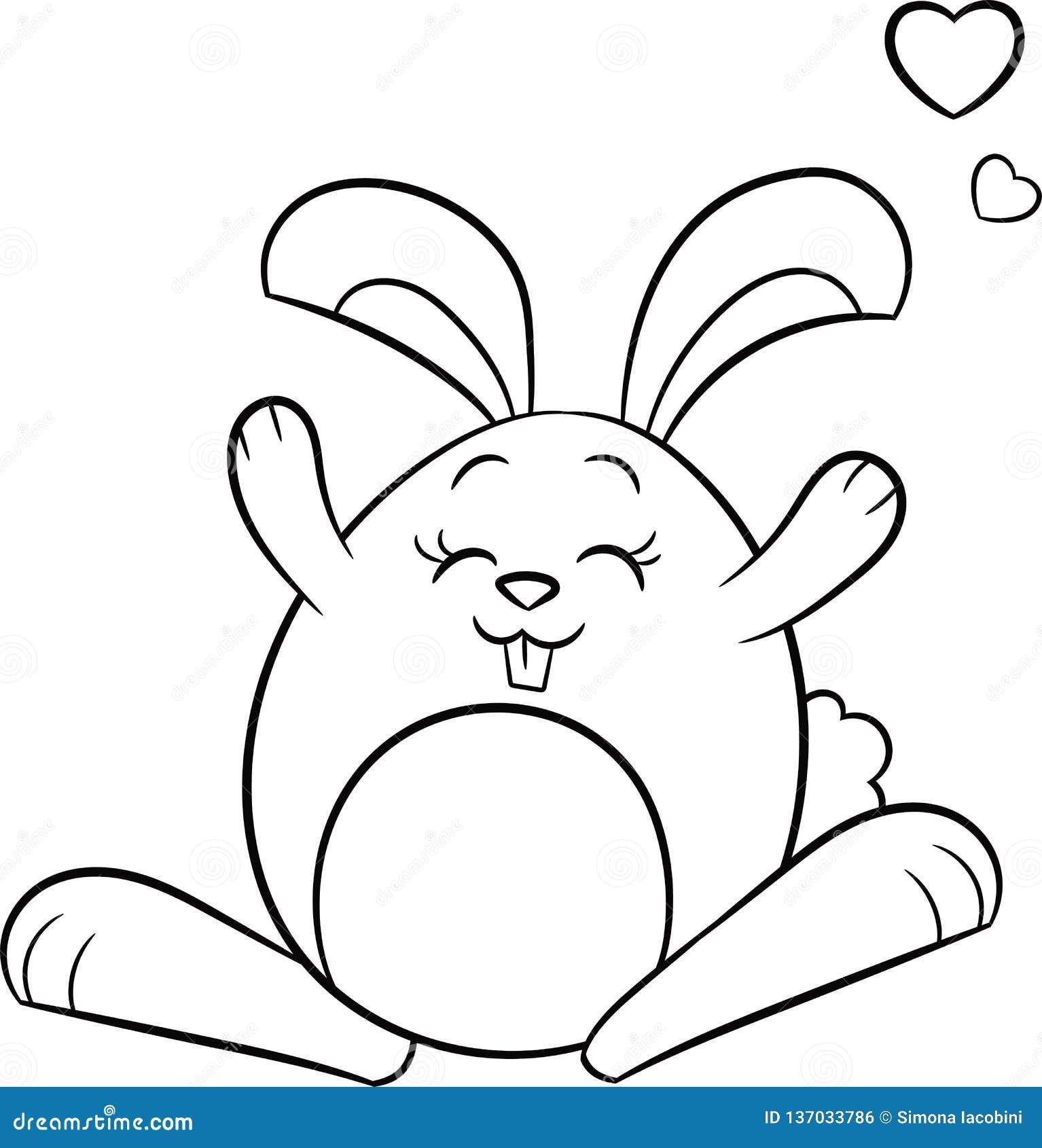 Negro De Kawaii Un Dibujo Blanco De Un Conejo De Conejito Con Los