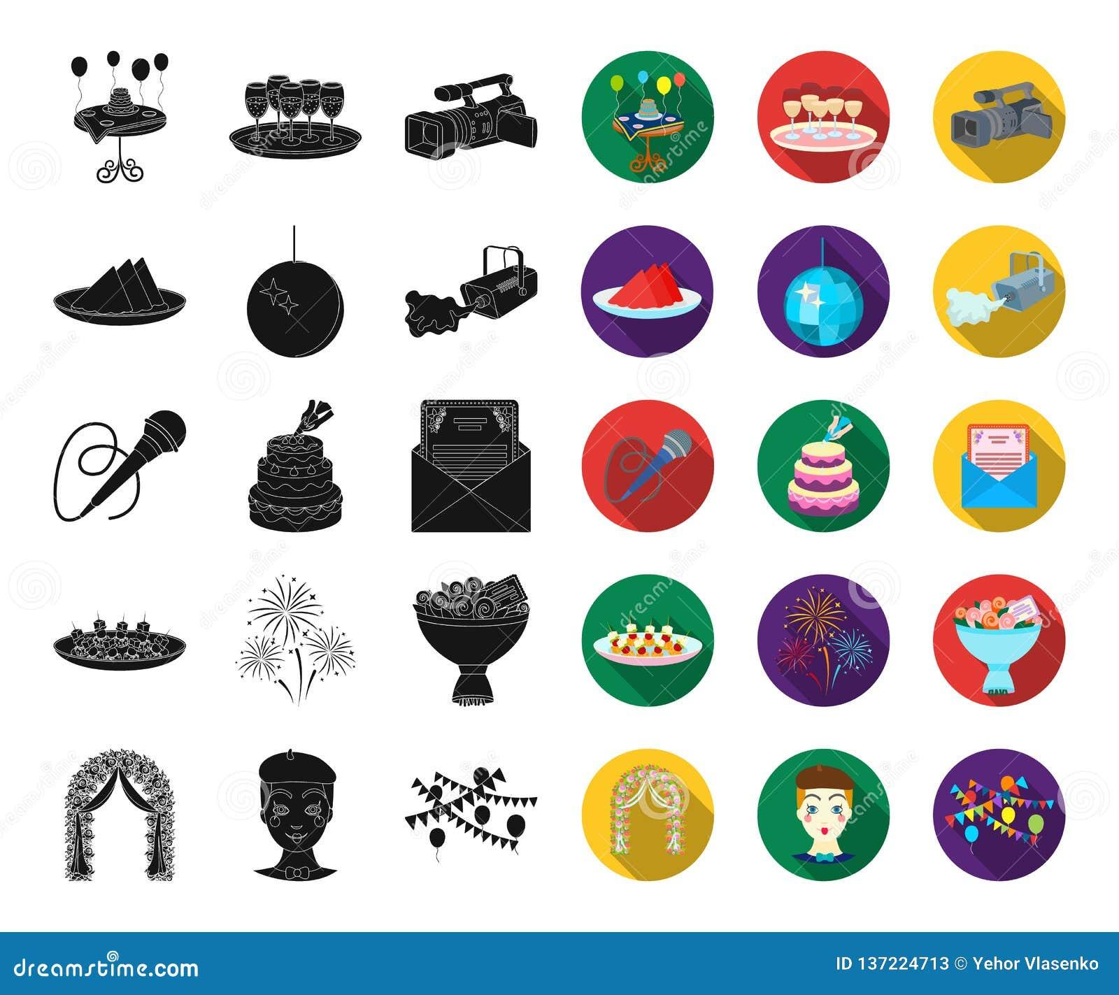 Negro de la organización del acontecimiento, iconos planos en la colección determinada para el diseño Web de la acción del símbol