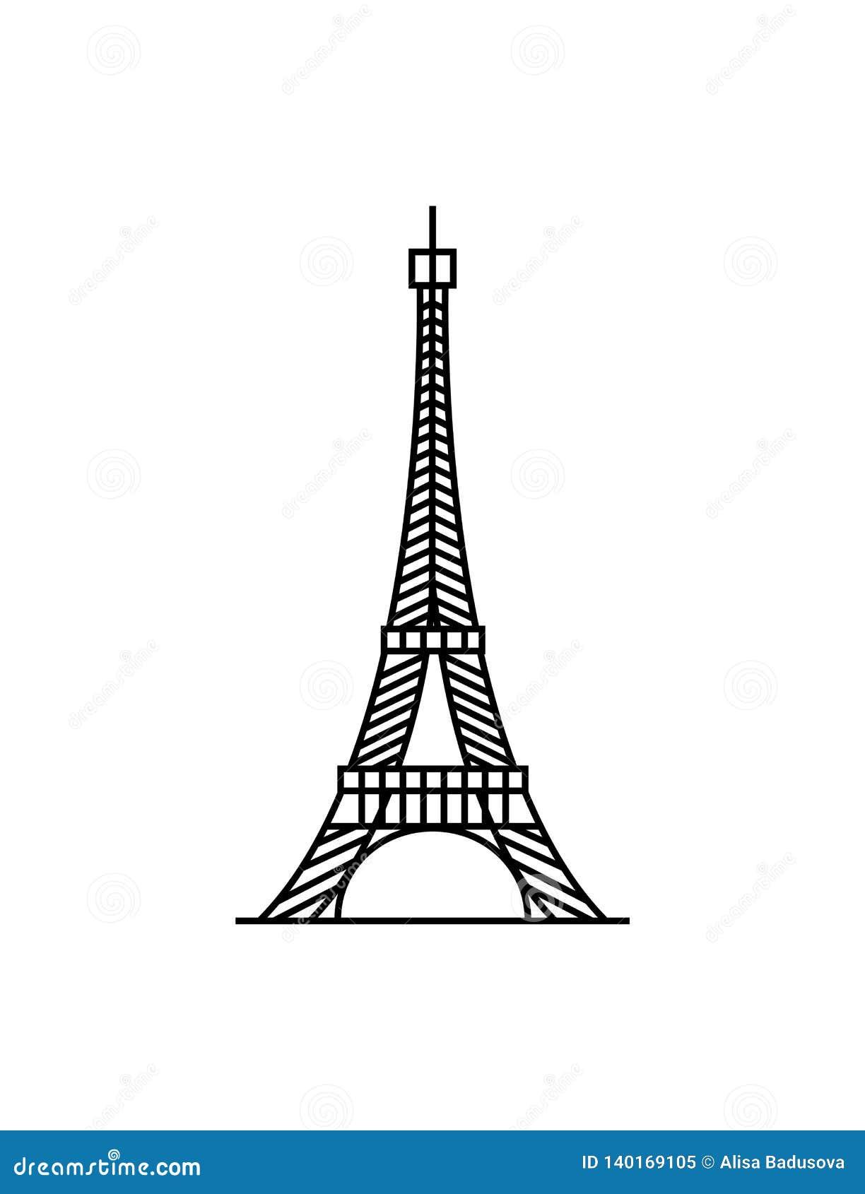 Negro de la torre Eiffel en el vector blanco del ejemplo del fondo