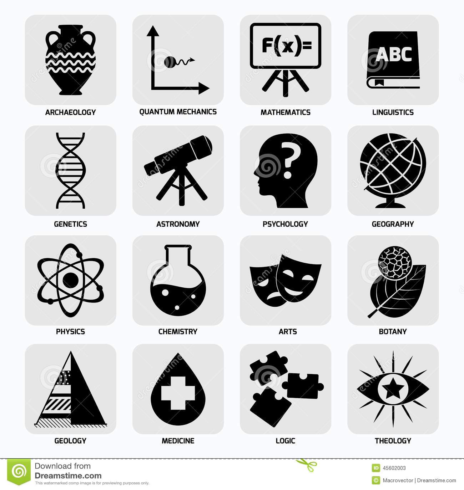Negro de los iconos de las áreas de la ciencia