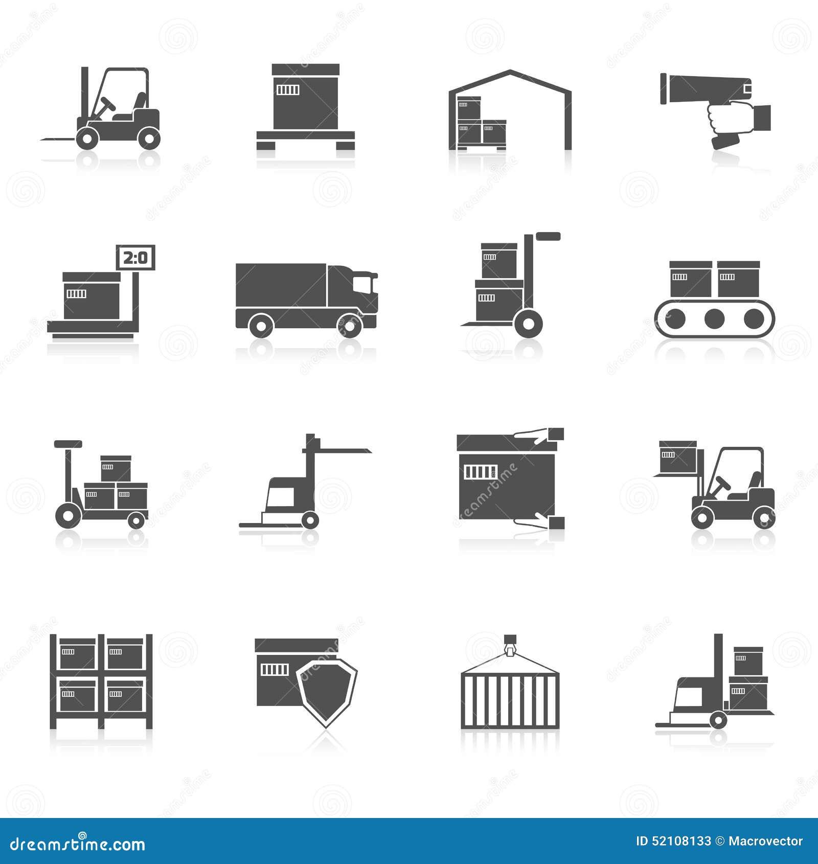 Negro de los iconos de Warehouse