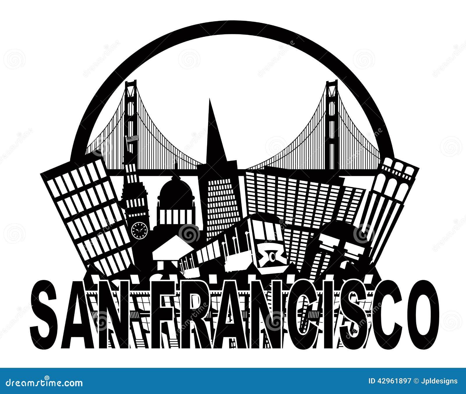 Negro de San Francisco Skyline Golden Gate Bridge y