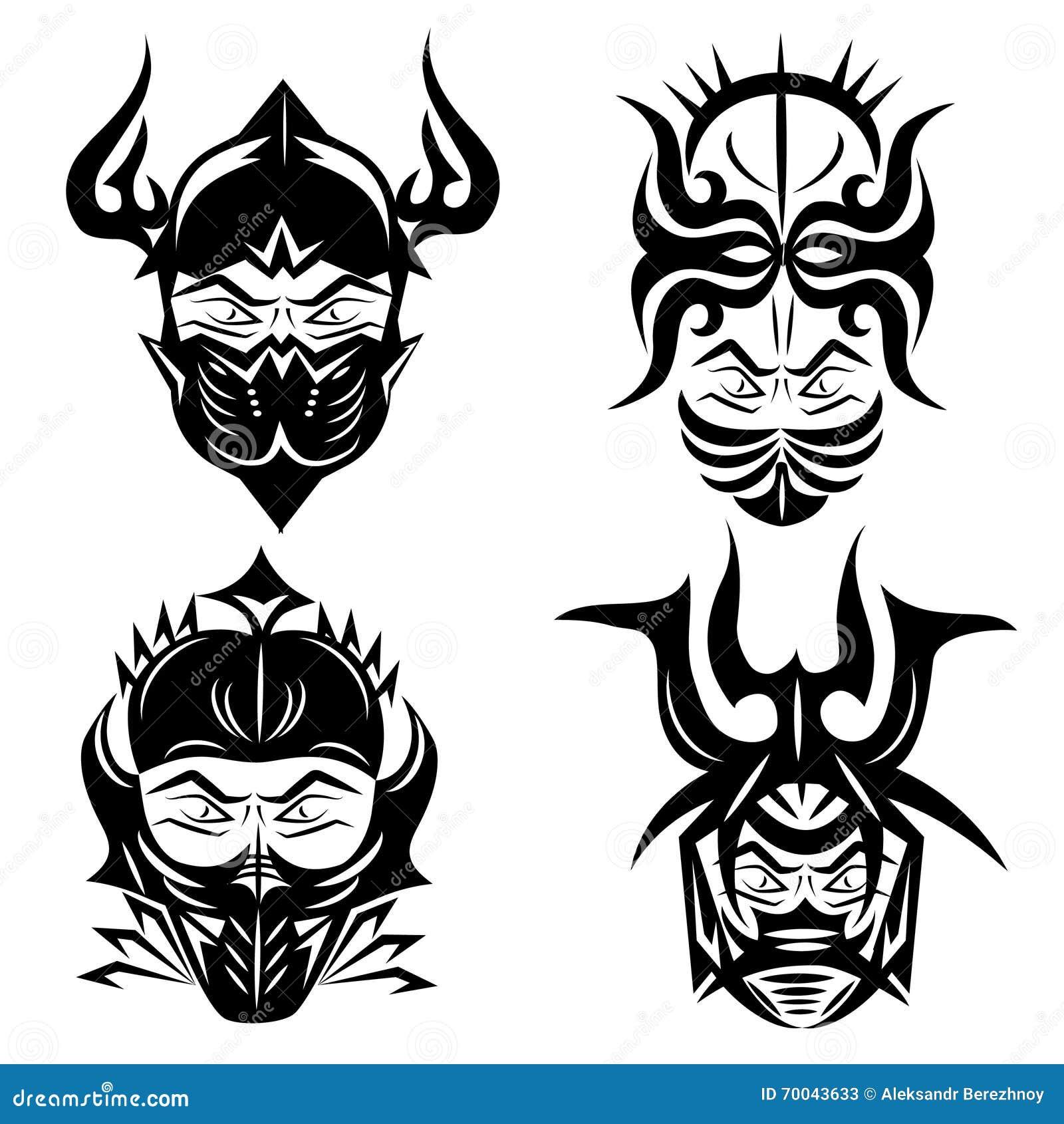 Negro Del Sistema Para Los Diseños Del Tatuaje Ilustración Del