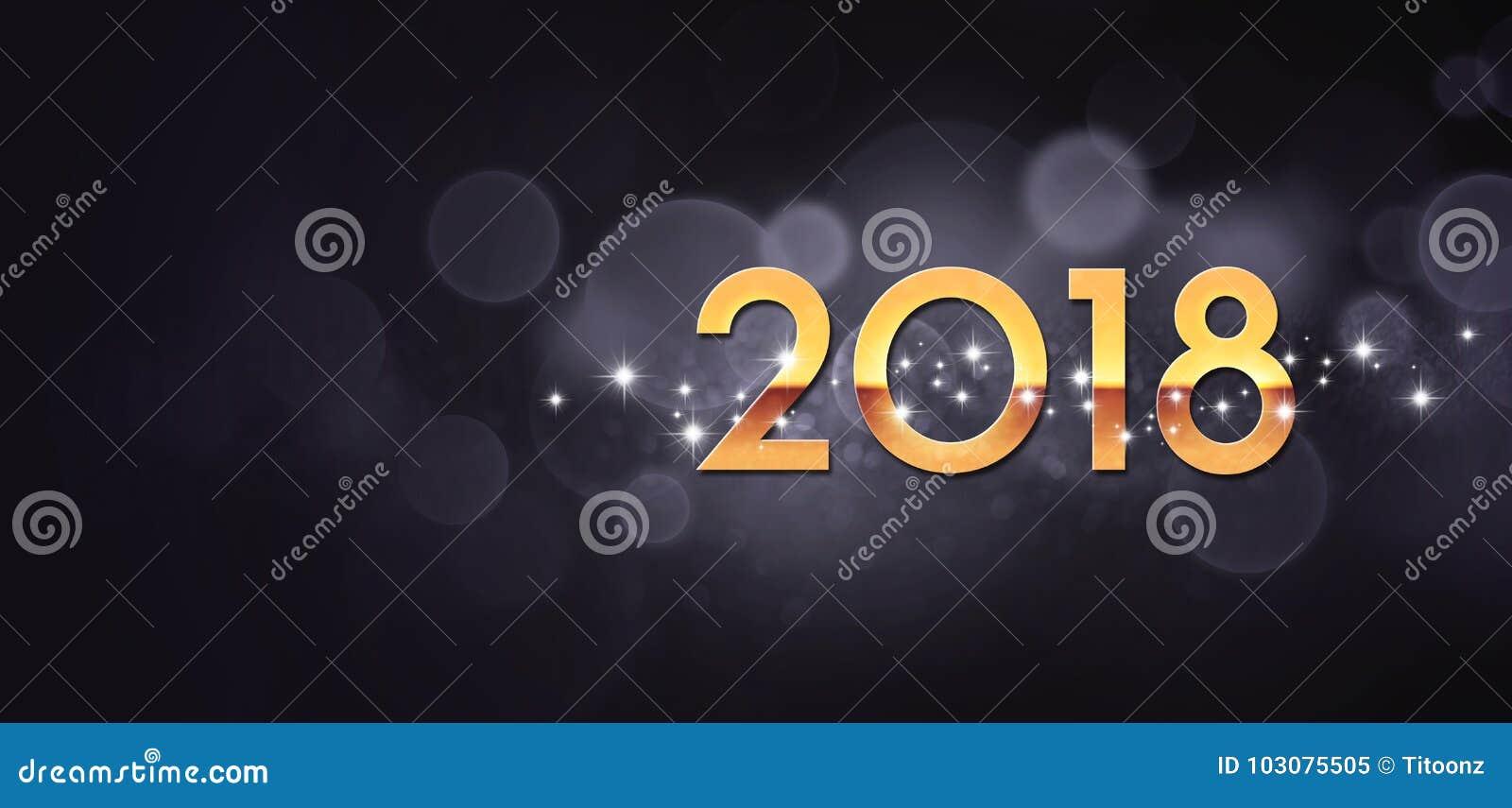 Negro 2018 y tarjeta de felicitación del oro