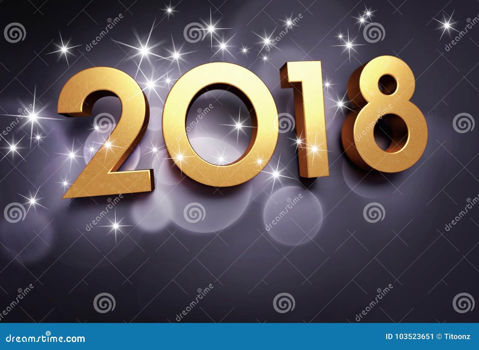 Negro y tarjeta 2018 de felicitación del oro