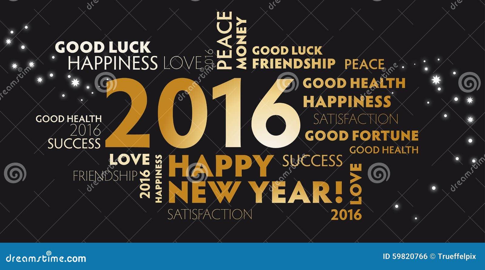 2016 negros y Feliz Año Nuevo de la postal de oro